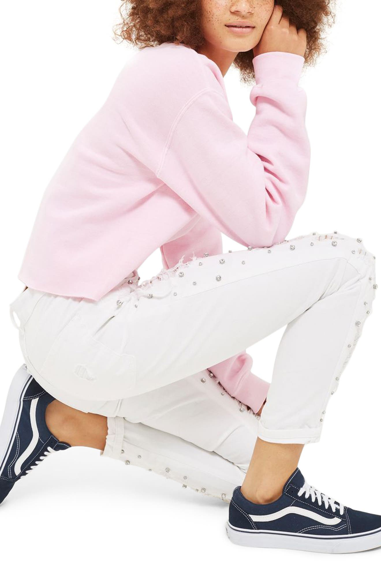 Alternate Image 2  - Topshop Super Rip Gemstone Mom Jeans