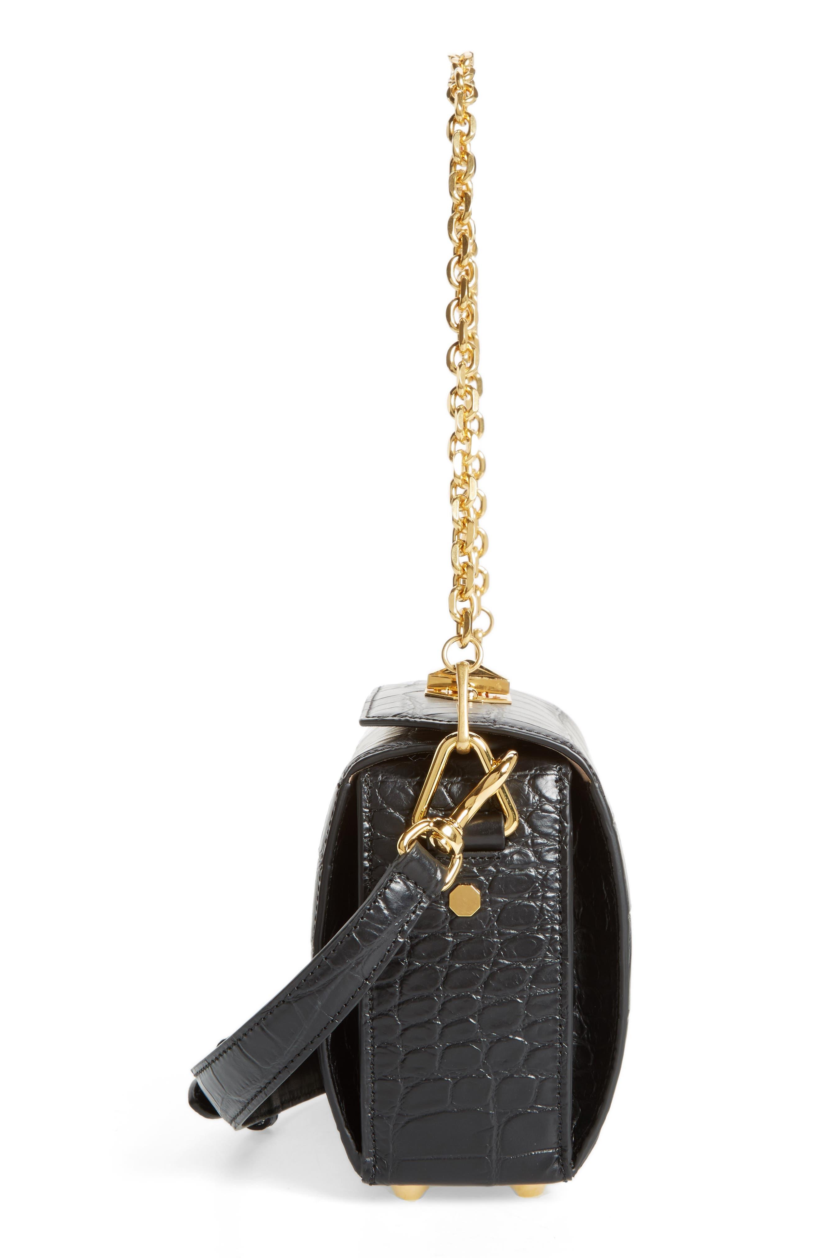 Box Bag 19 Croc Embossed Leather Bag,                             Alternate thumbnail 5, color,                             Black