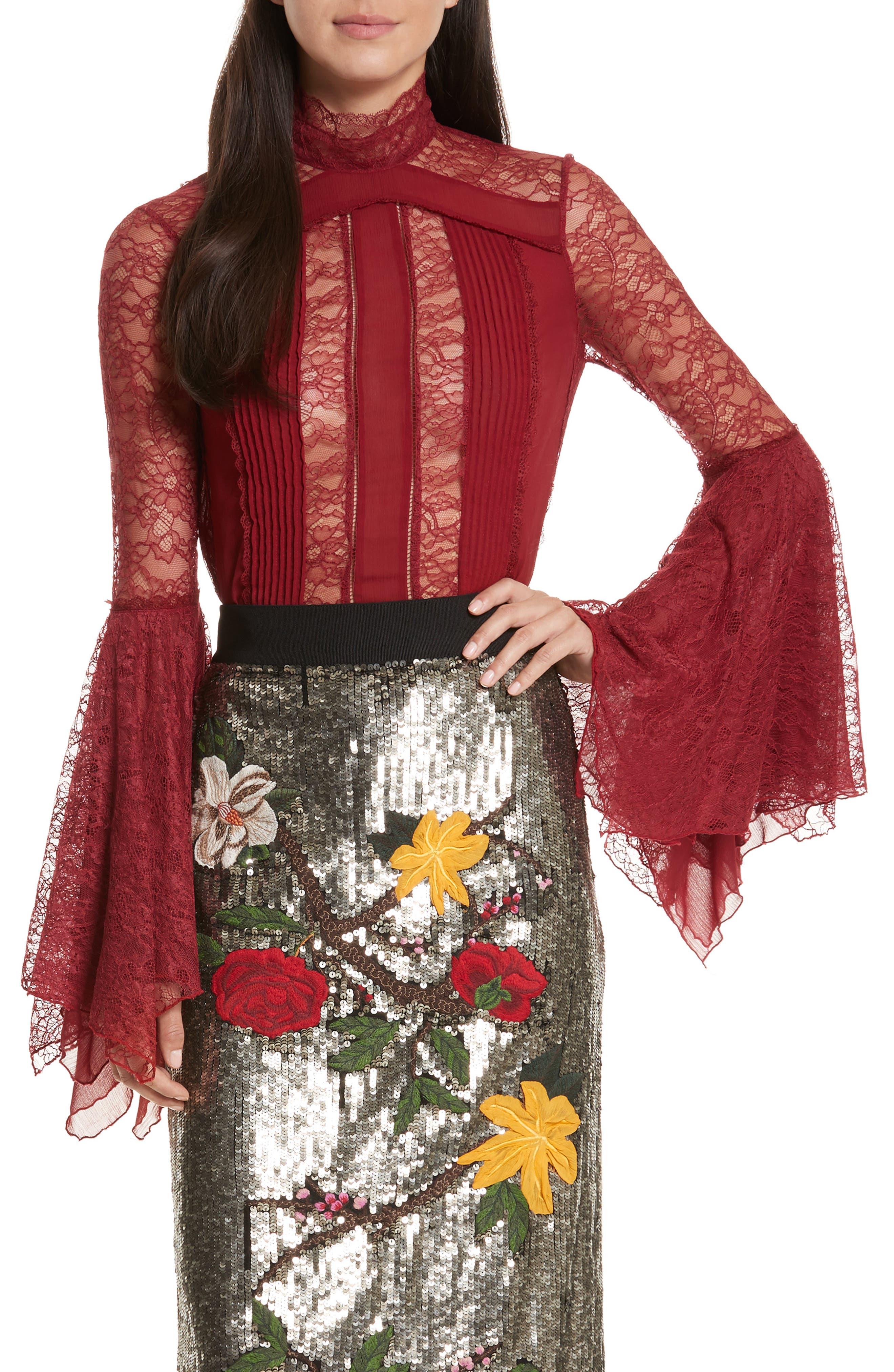 Ivy Handkerchief Sleeve Silk Top,                         Main,                         color, Bordeaux