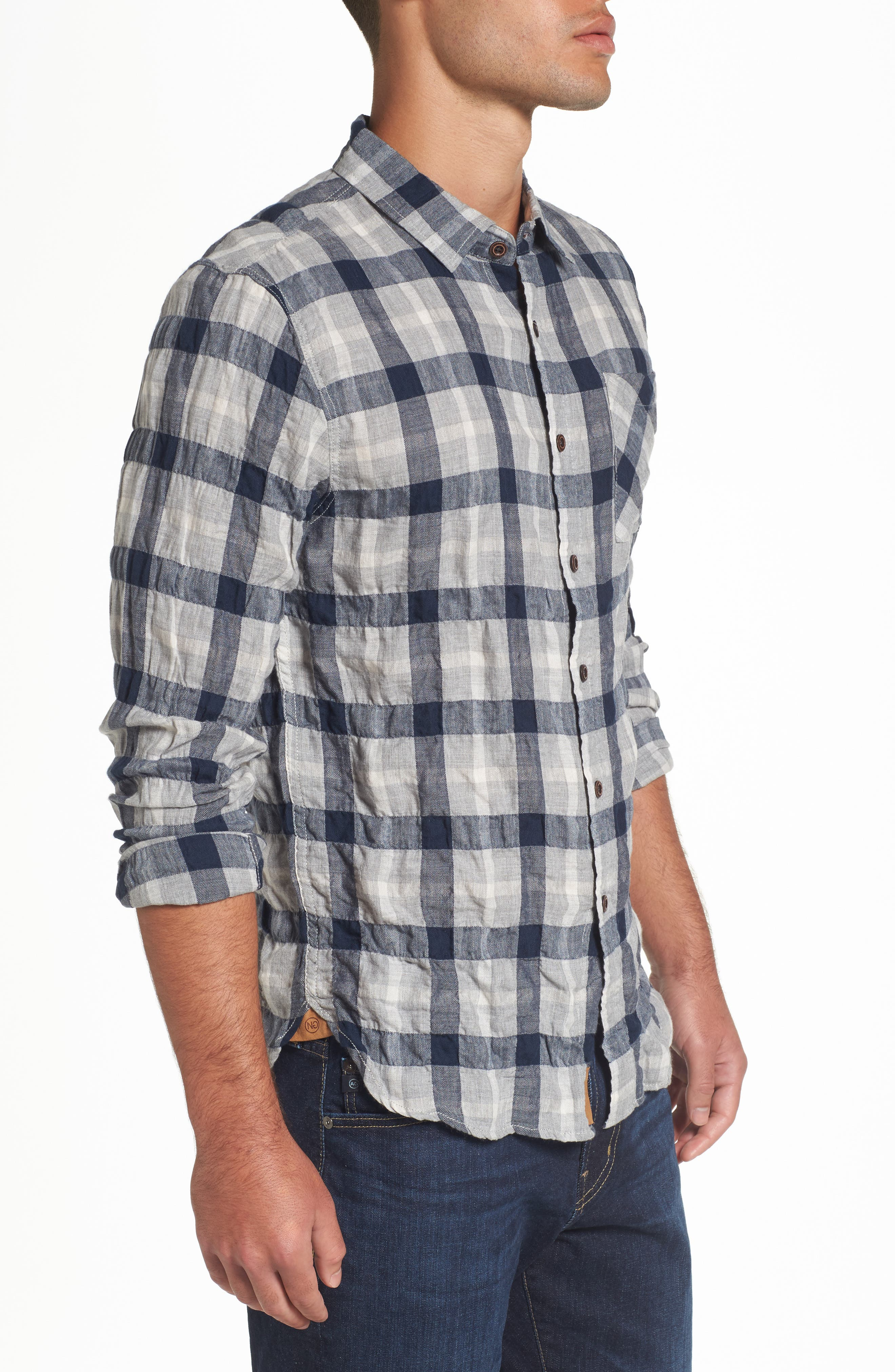 Truman Plaid Sport Shirt,                             Alternate thumbnail 3, color,                             Gray/ Navy/ White