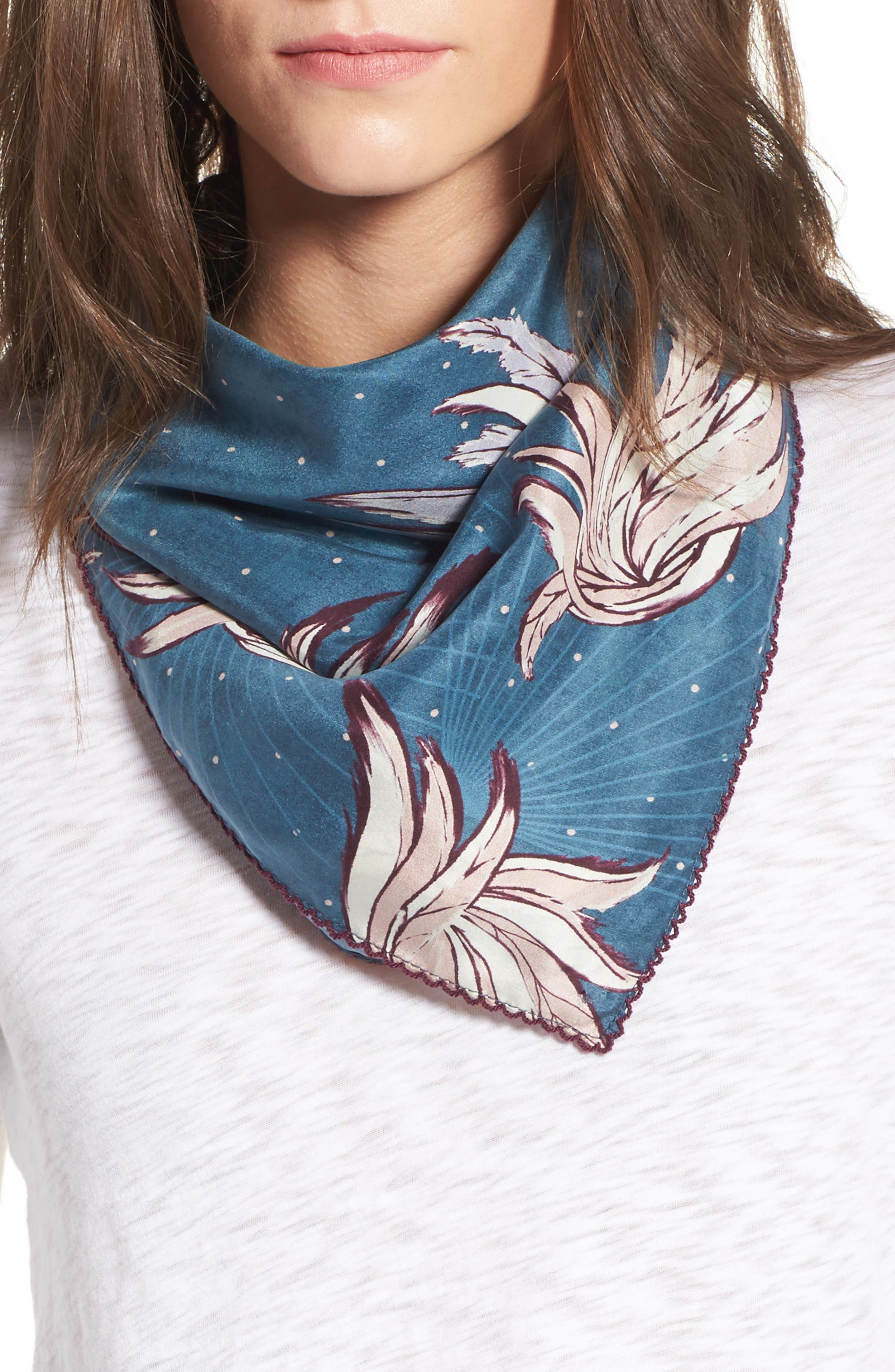 Disco Wings Silk Scarf,                         Main,                         color, Blue Combo