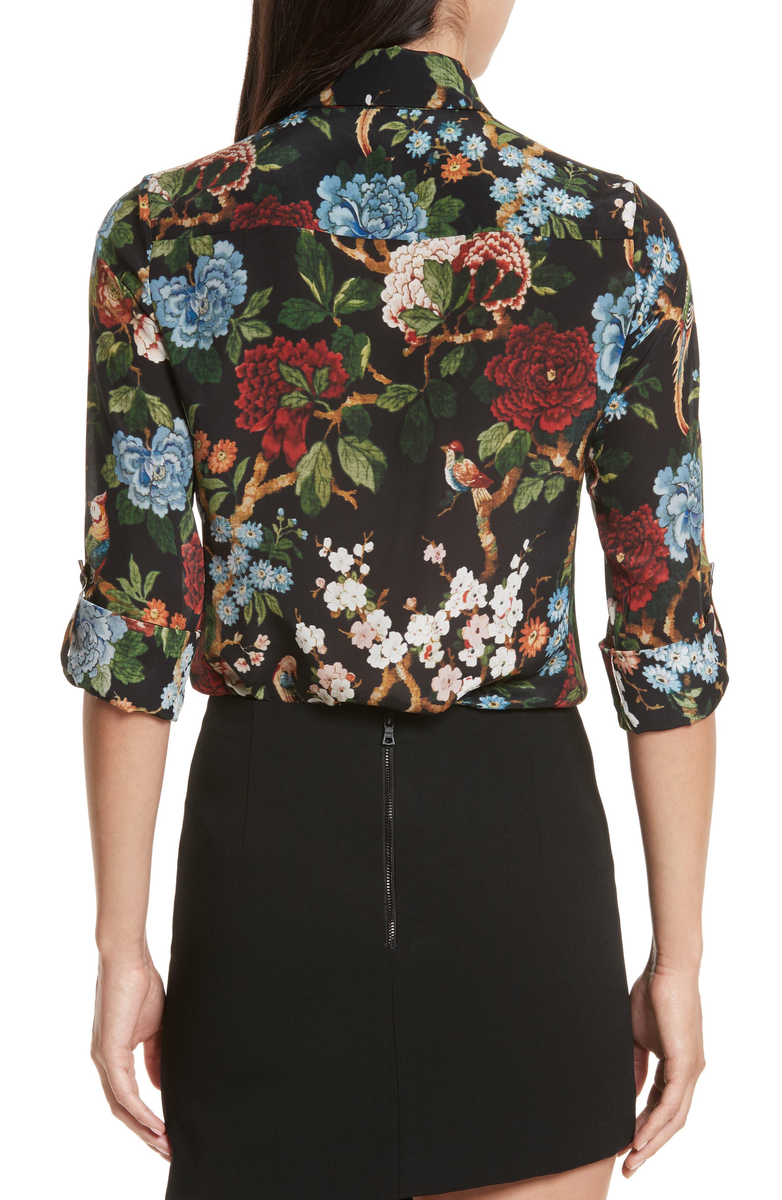 Alternate Image 2  - Alice + Olivia Cal Print Silk Shirt