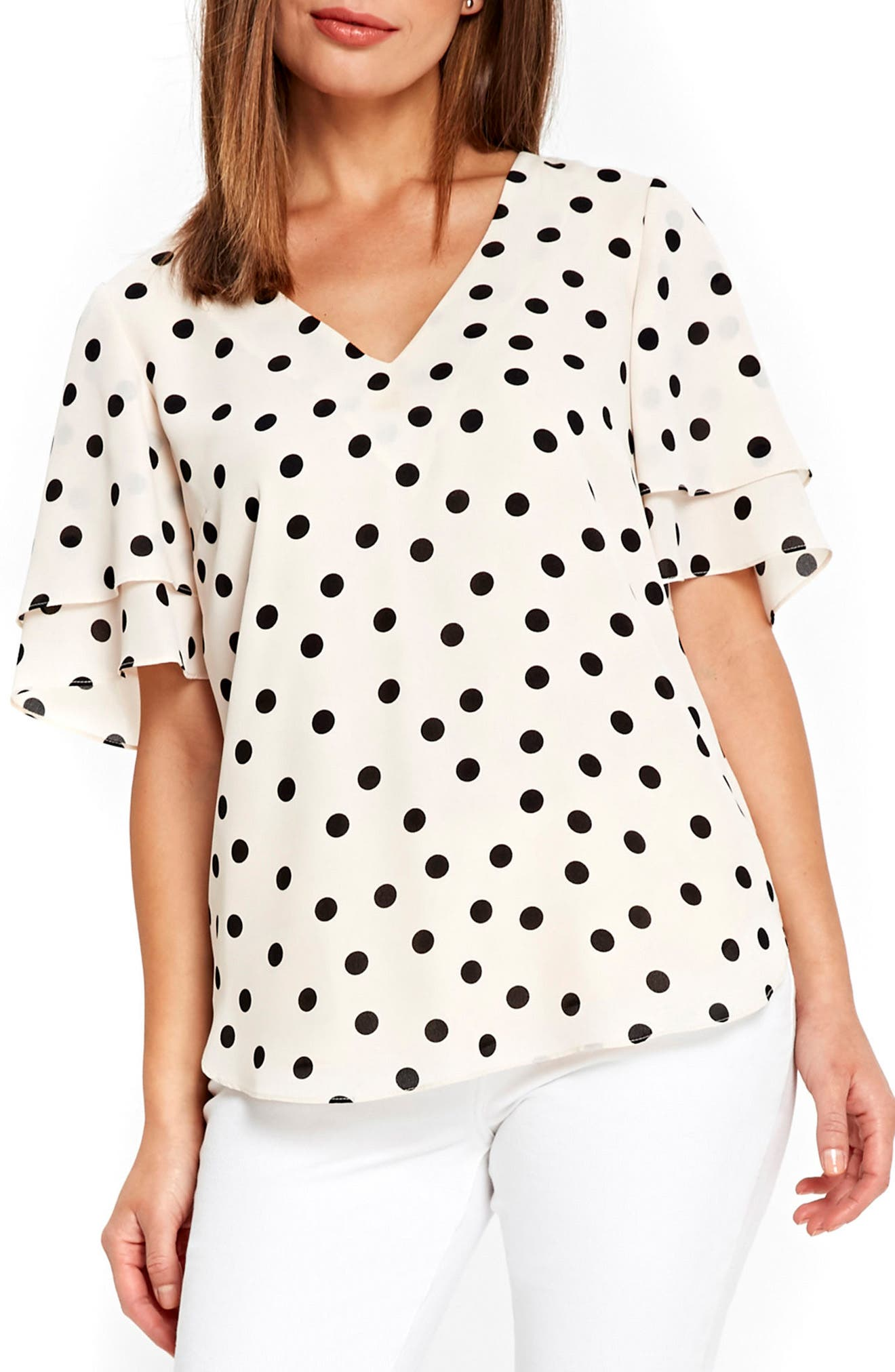 Spot Double Sleeve Top,                         Main,                         color, Ivory/ Black