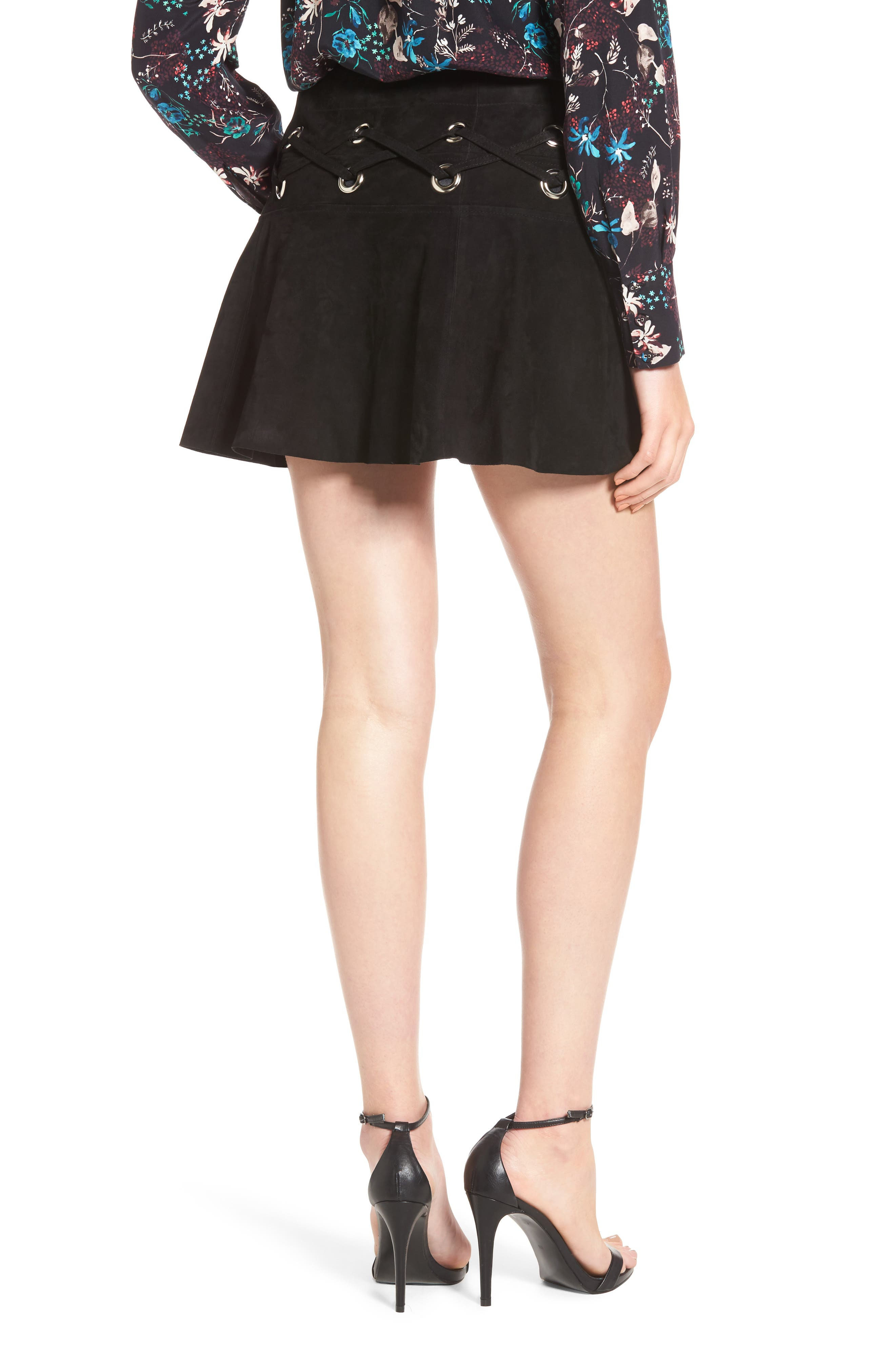 Grommet Suede Miniskirt,                             Alternate thumbnail 2, color,                             Black