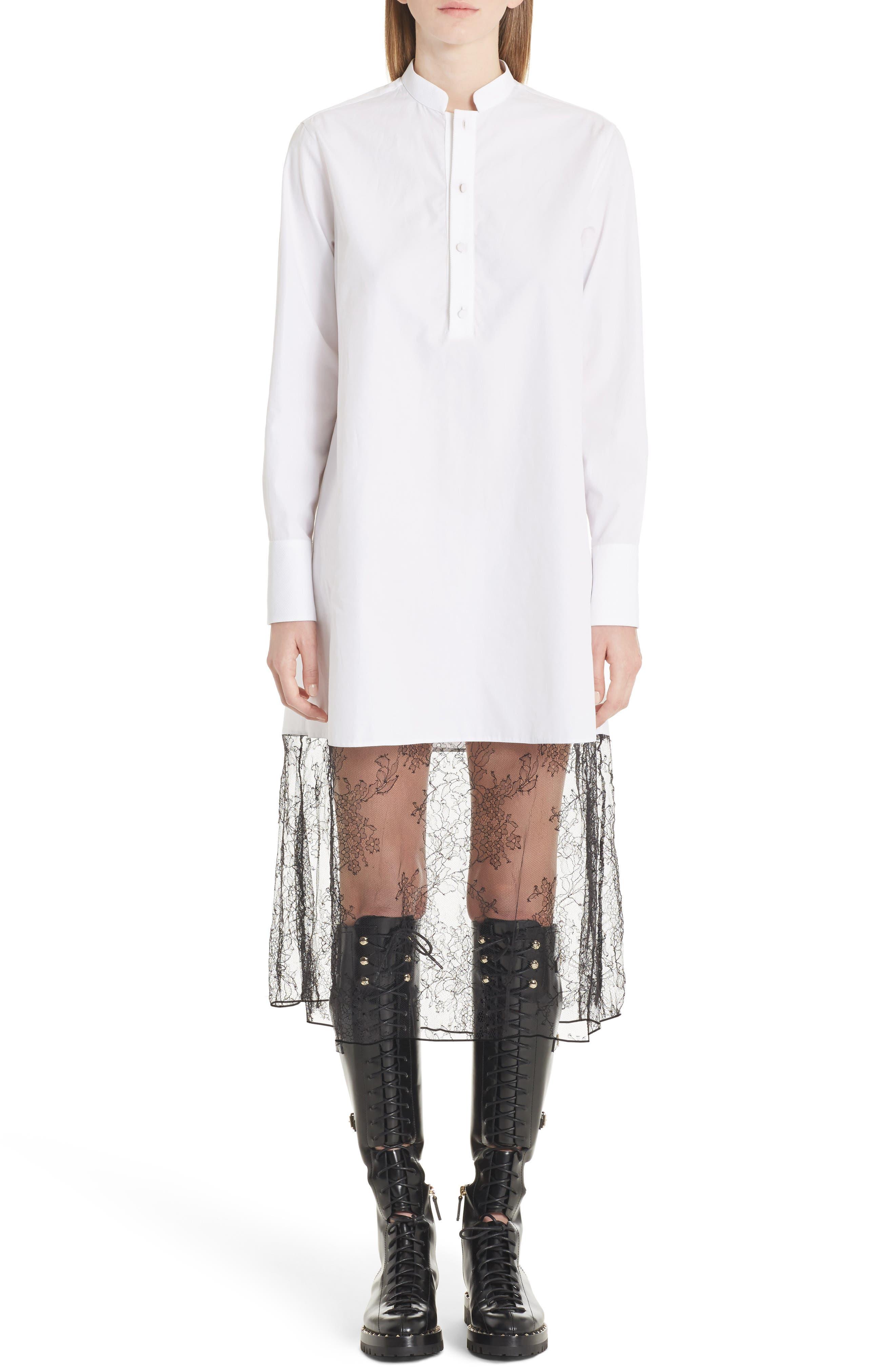 Lace Hem Cotton Poplin Shirtdress,                         Main,                         color, White/ Black