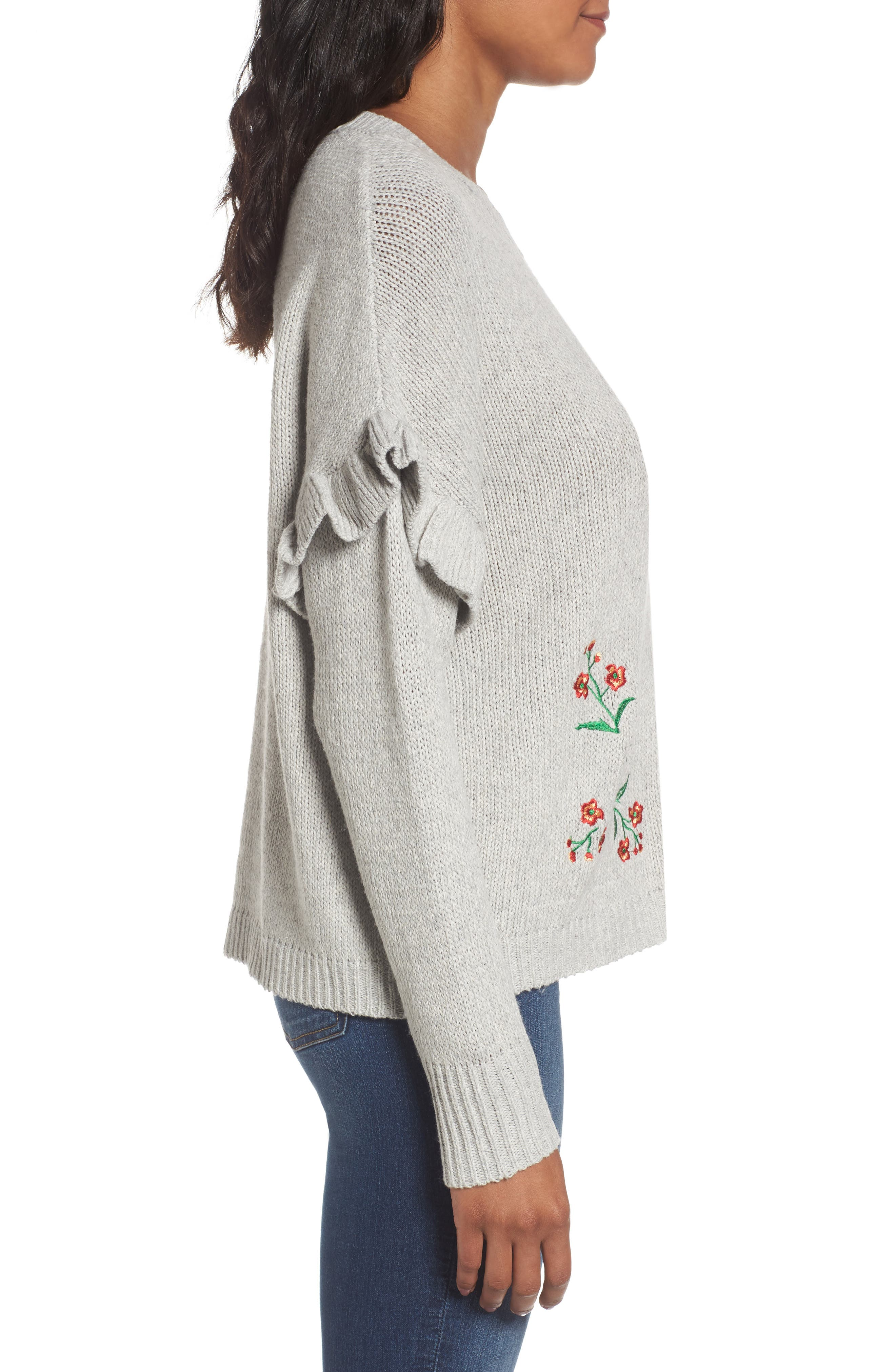 Ruffle Sleeve Embroidered Sweater,                             Alternate thumbnail 3, color,                             Grey