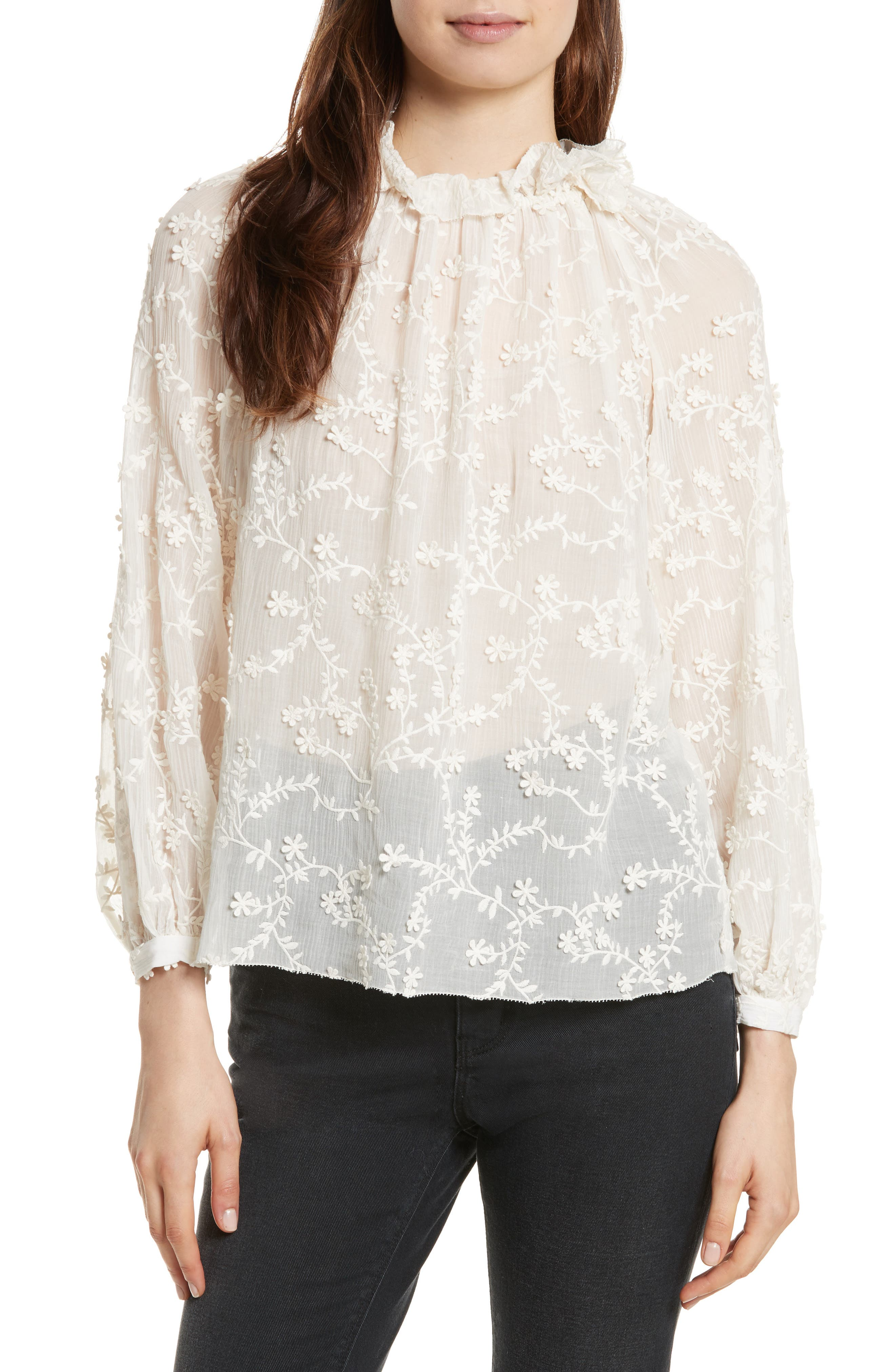Rebecca Taylor Ellie Floral Embroidered Top