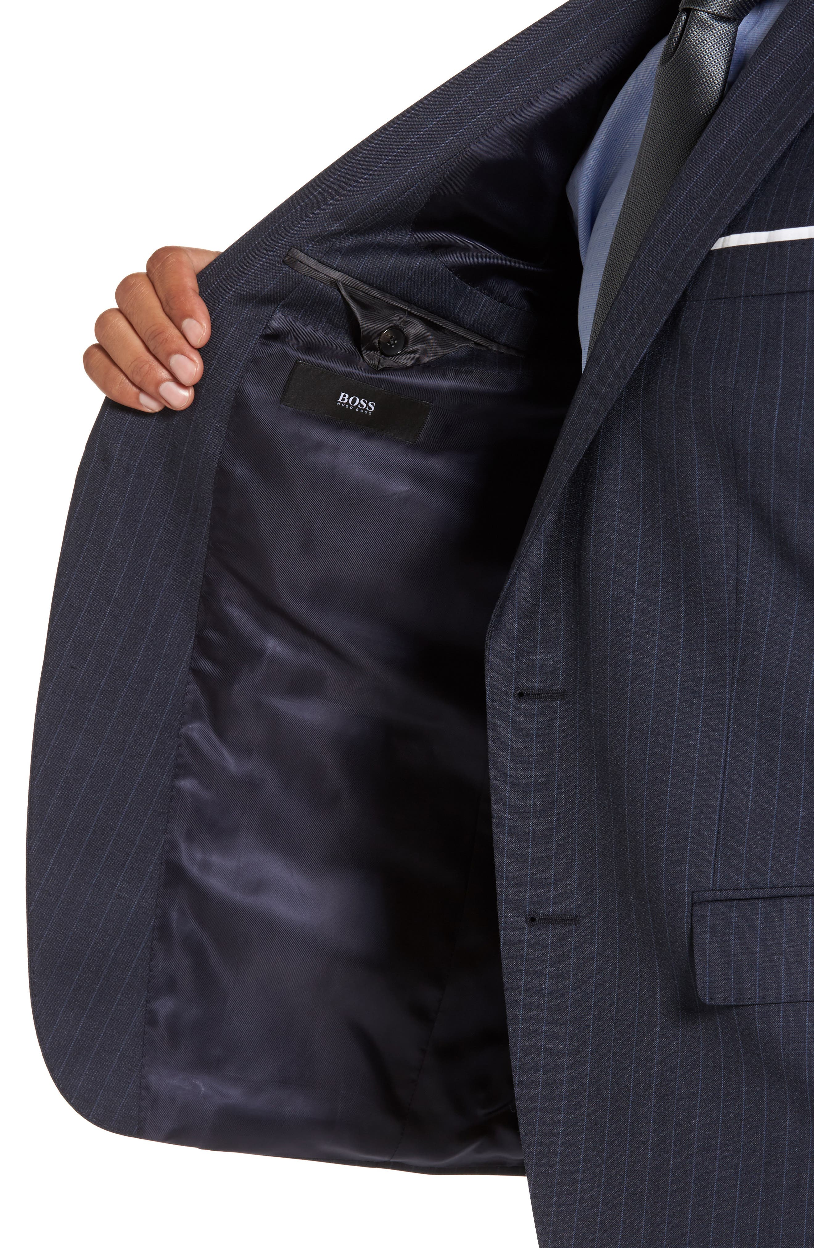 Alternate Image 4  - BOSS Huge/Genius Trim Fit Stripe Wool Suit