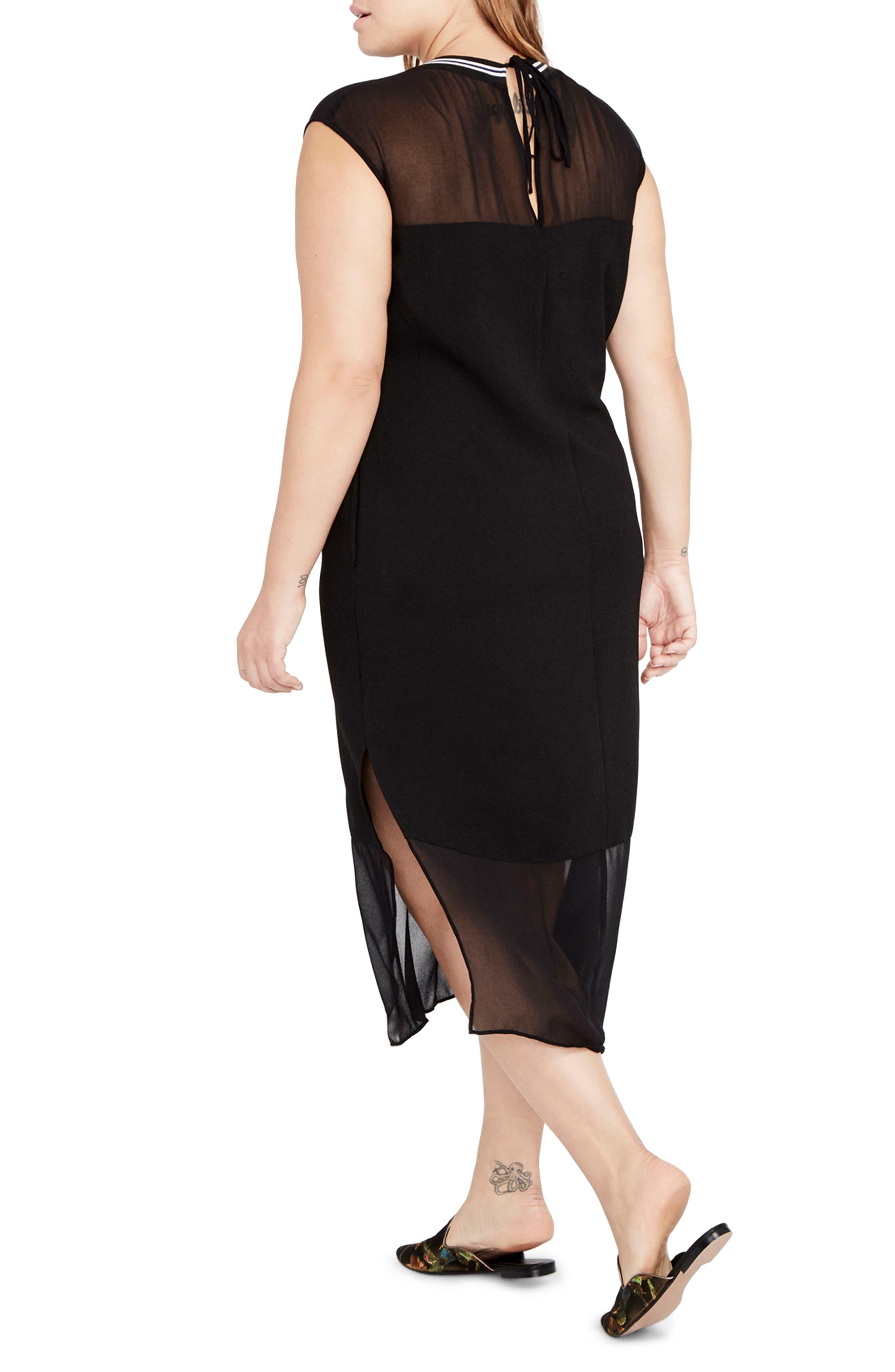 Rib Neck Shift Dress,                             Alternate thumbnail 2, color,                             Black