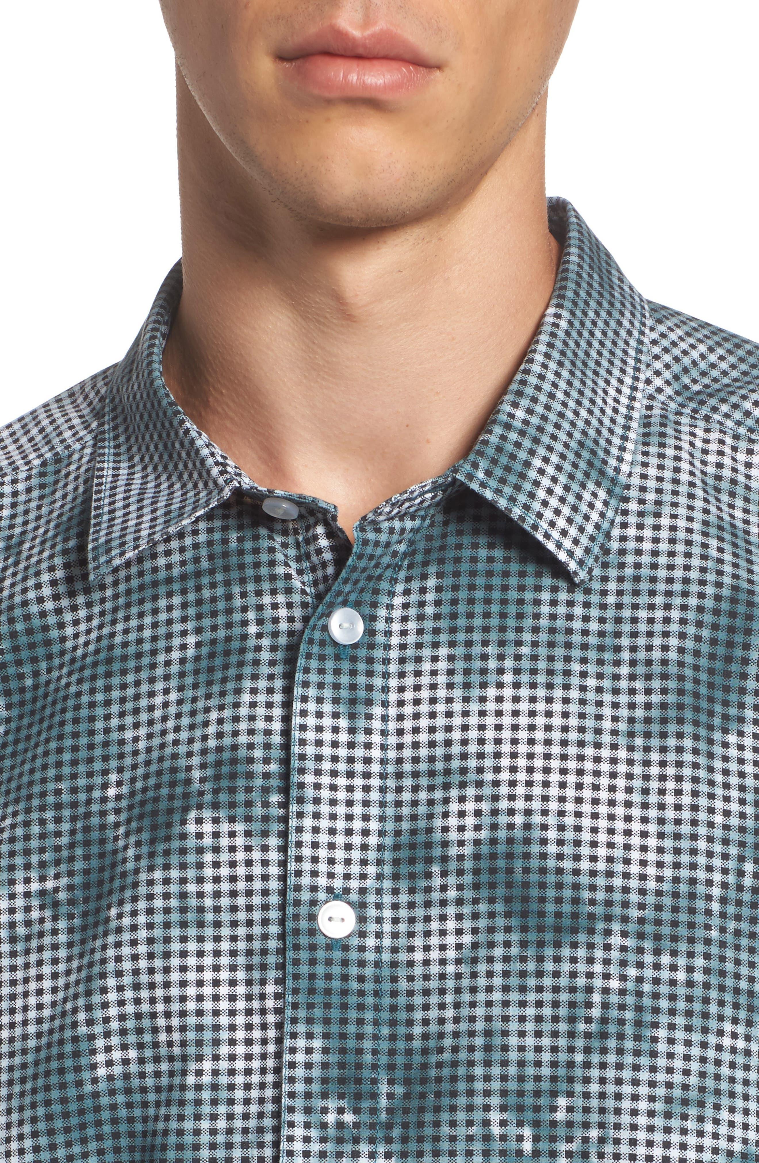 Tie Dye Check Shirt,                             Alternate thumbnail 4, color,                             Arona Blue