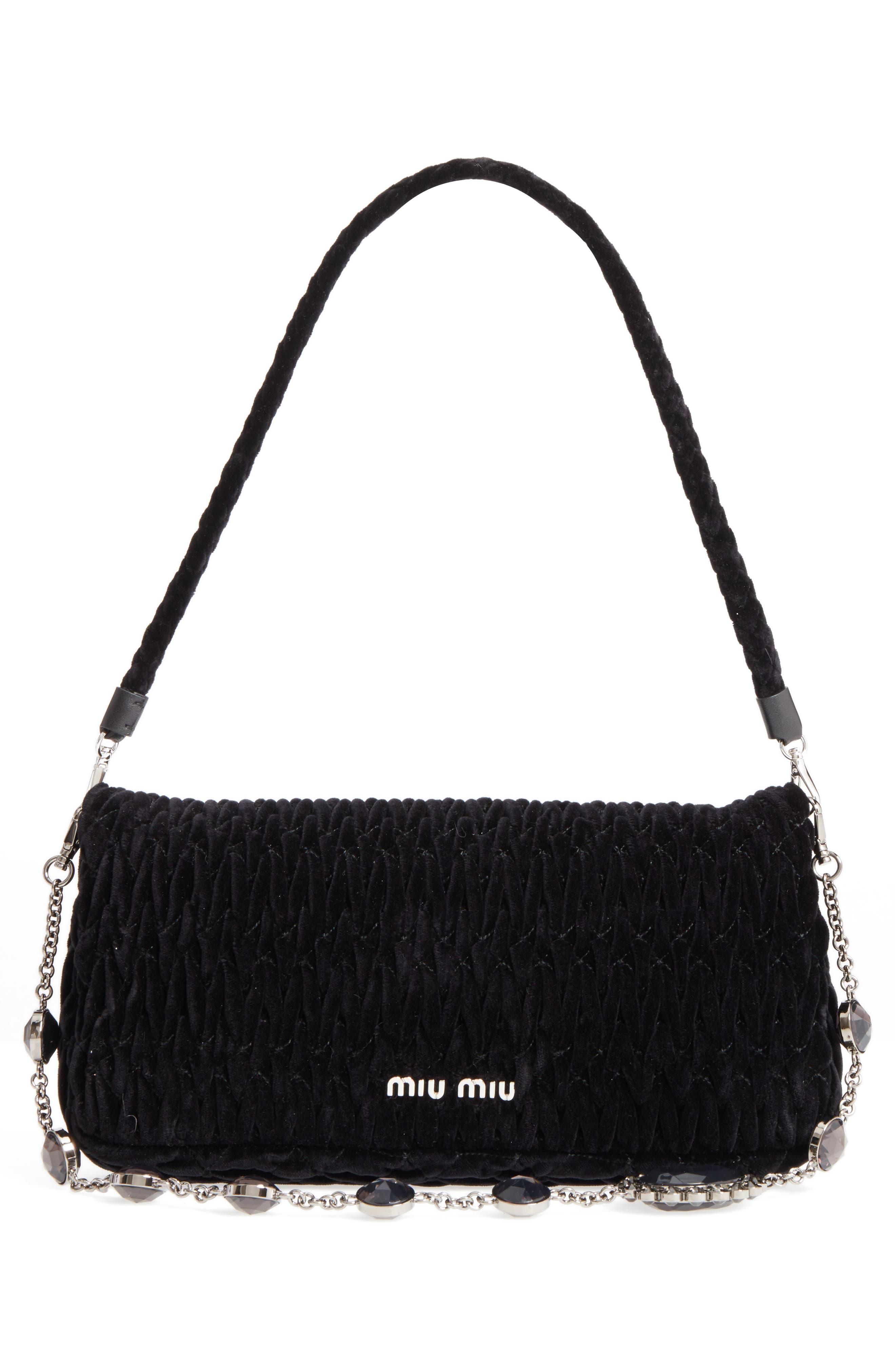 Alternate Image 2  - Miu Miu Medium Crystal Embellished Quilted Velvet Shoulder Bag