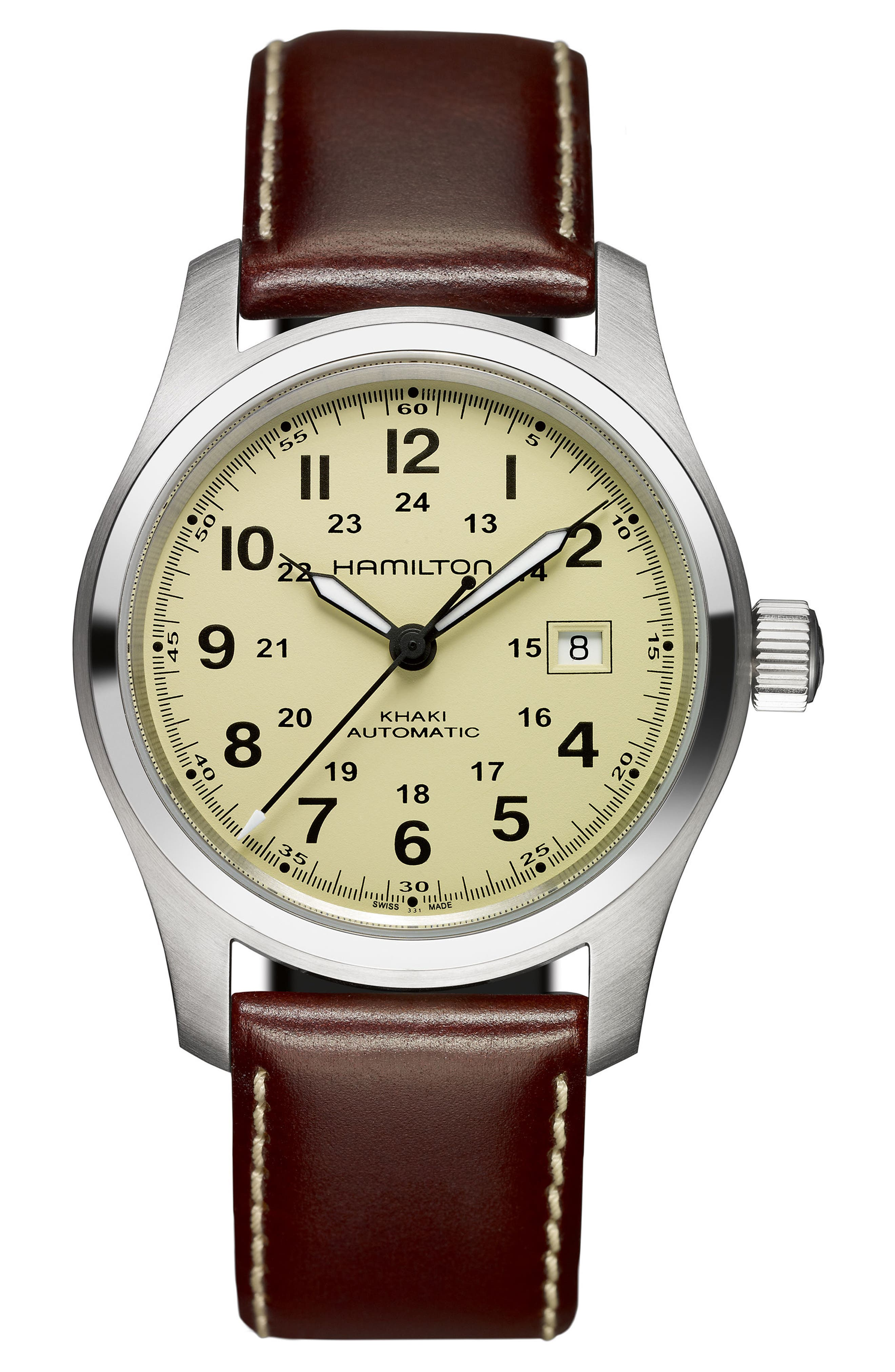 Khaki Field Automatic Leather Strap Watch, 42mm,                         Main,                         color, Brown/ Beige/ Silver