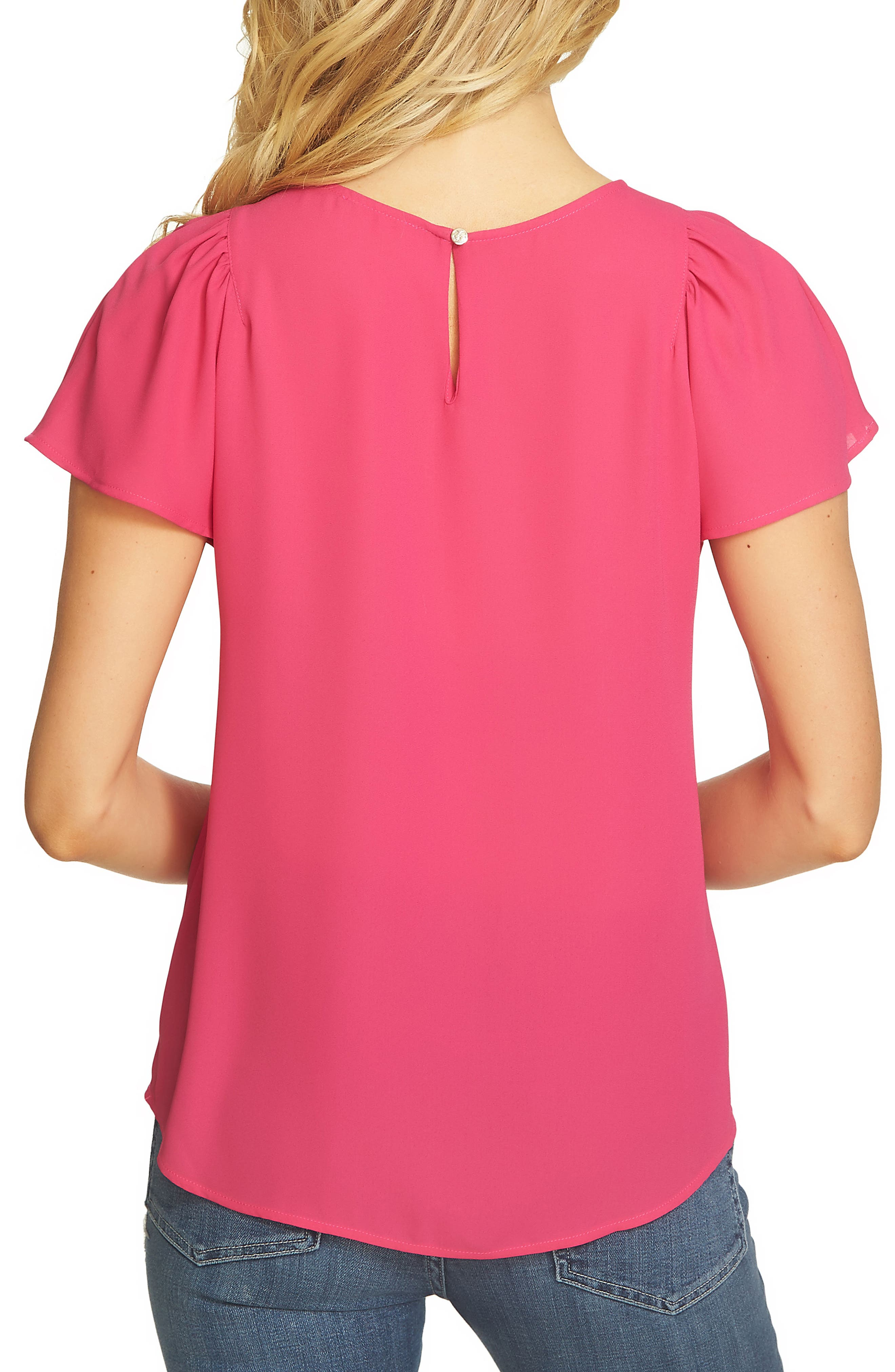 Flutter Sleeve Blouse,                             Alternate thumbnail 2, color,                             Vibrant Cerise
