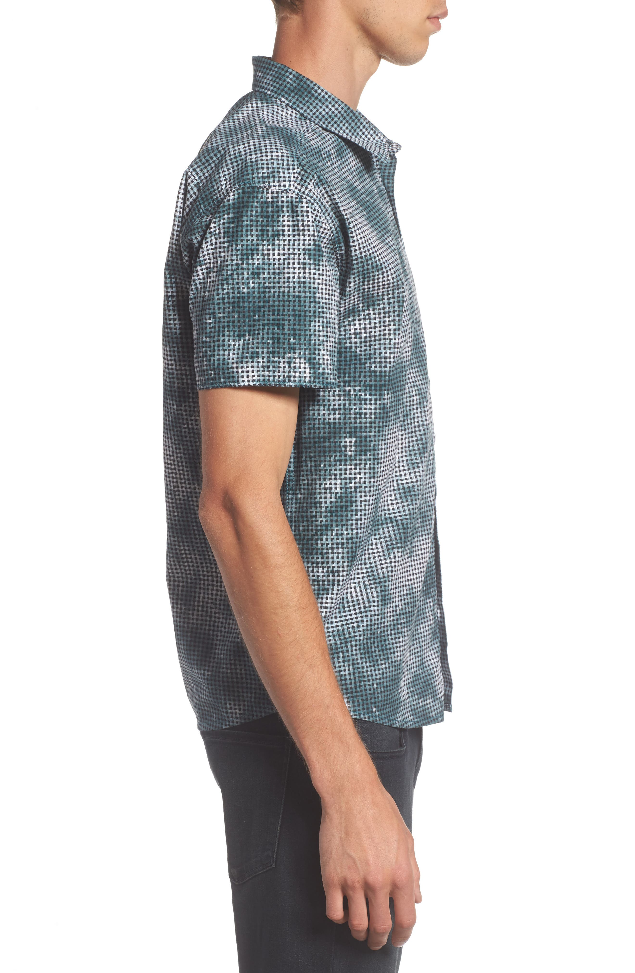Tie Dye Check Shirt,                             Alternate thumbnail 3, color,                             Arona Blue