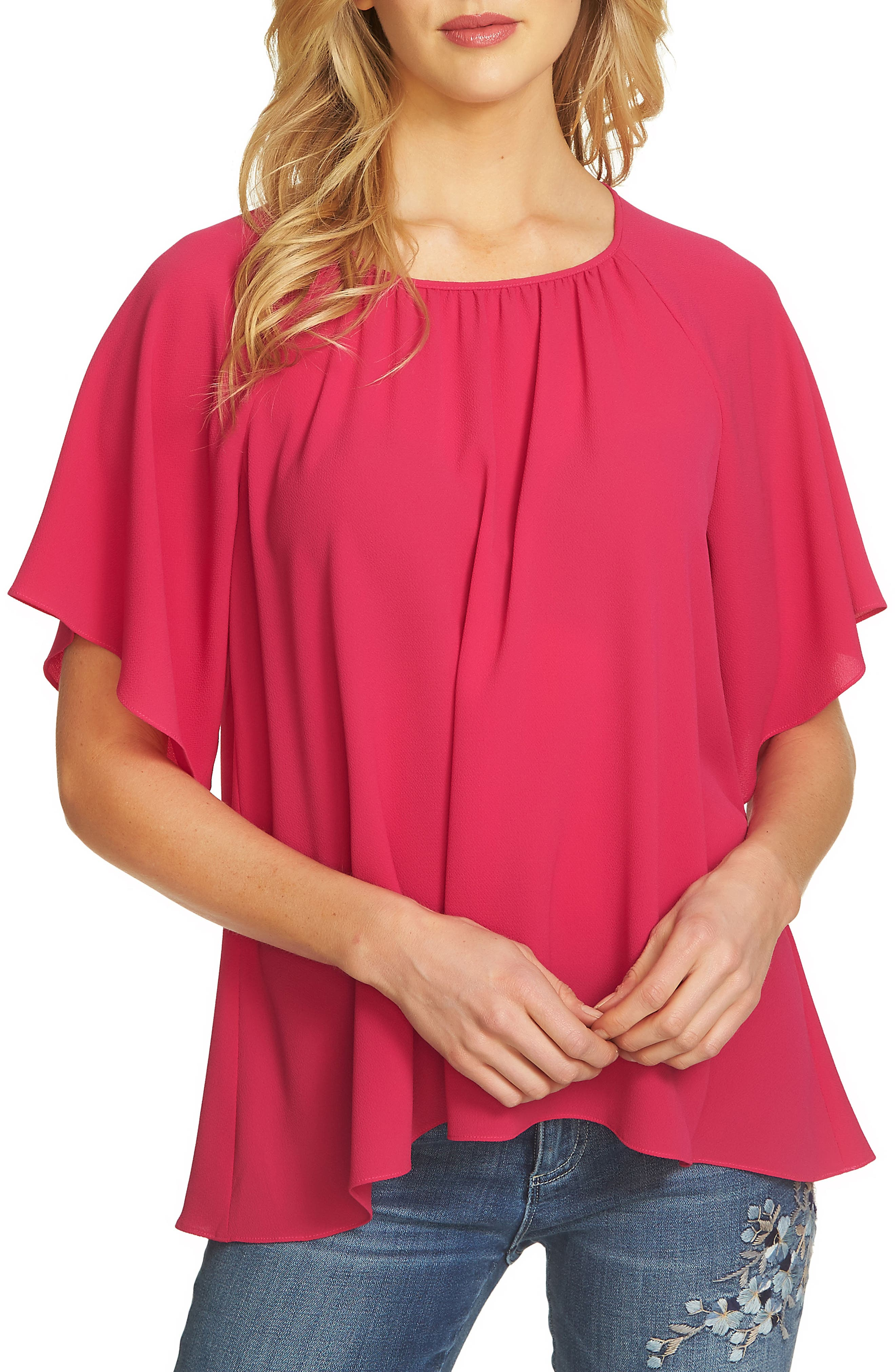 Alternate Image 1 Selected - CeCe Textured Stretch Crepe Blouse