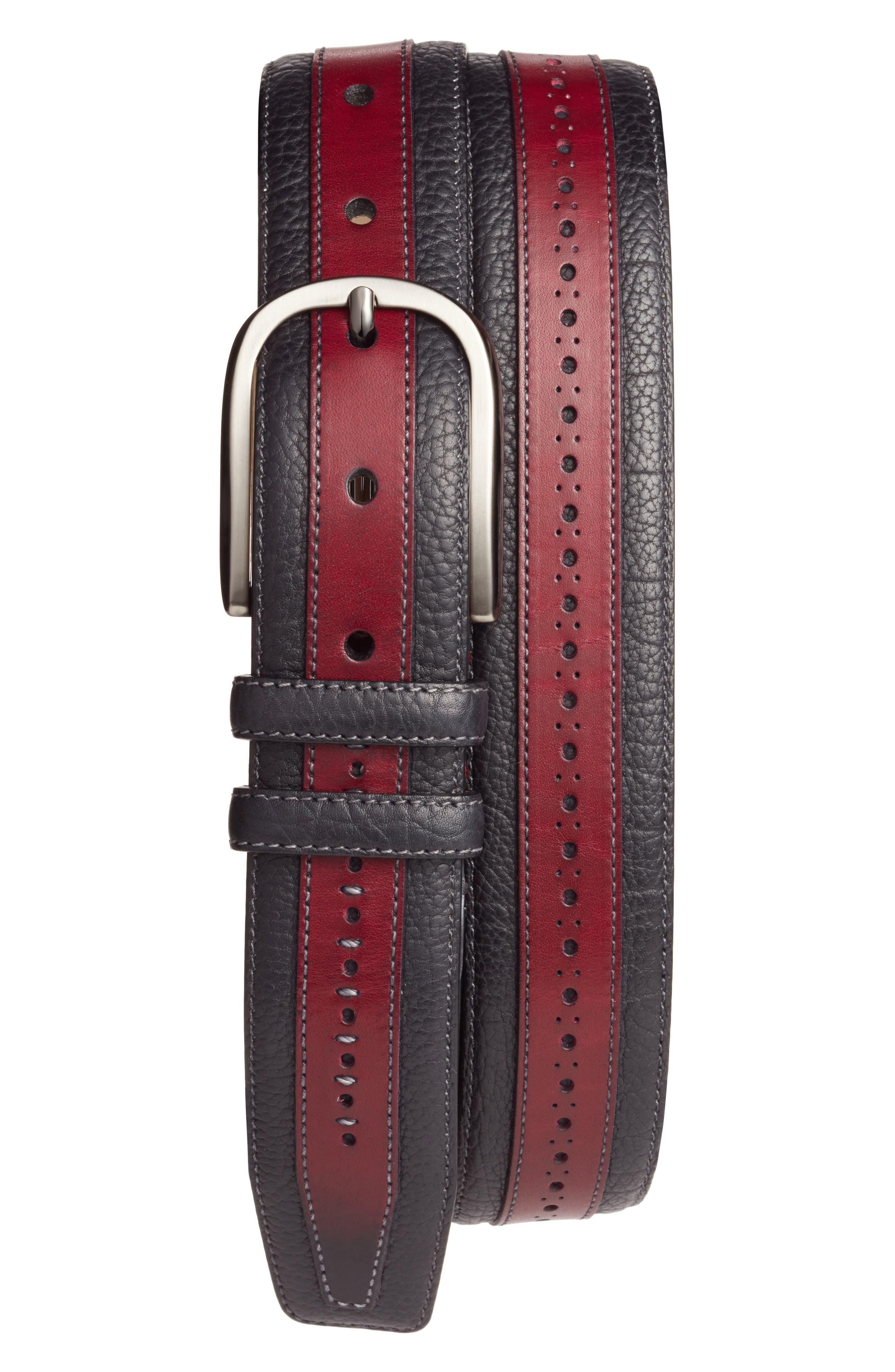 Palma Leather Belt,                         Main,                         color, Burgundy/ Black