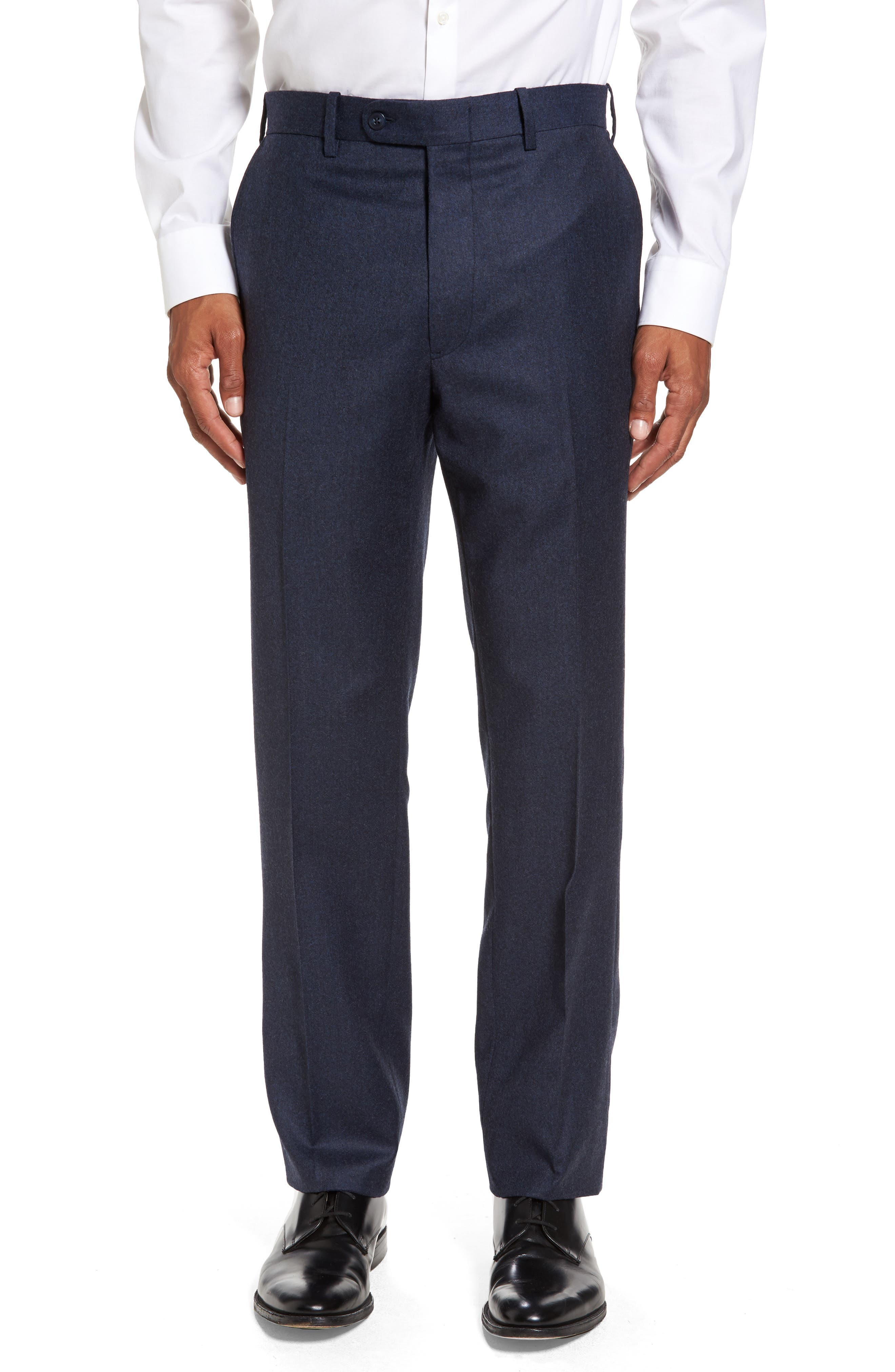 Main Image - JB Britches Flat Front Solid Wool & Cashmere Trousers