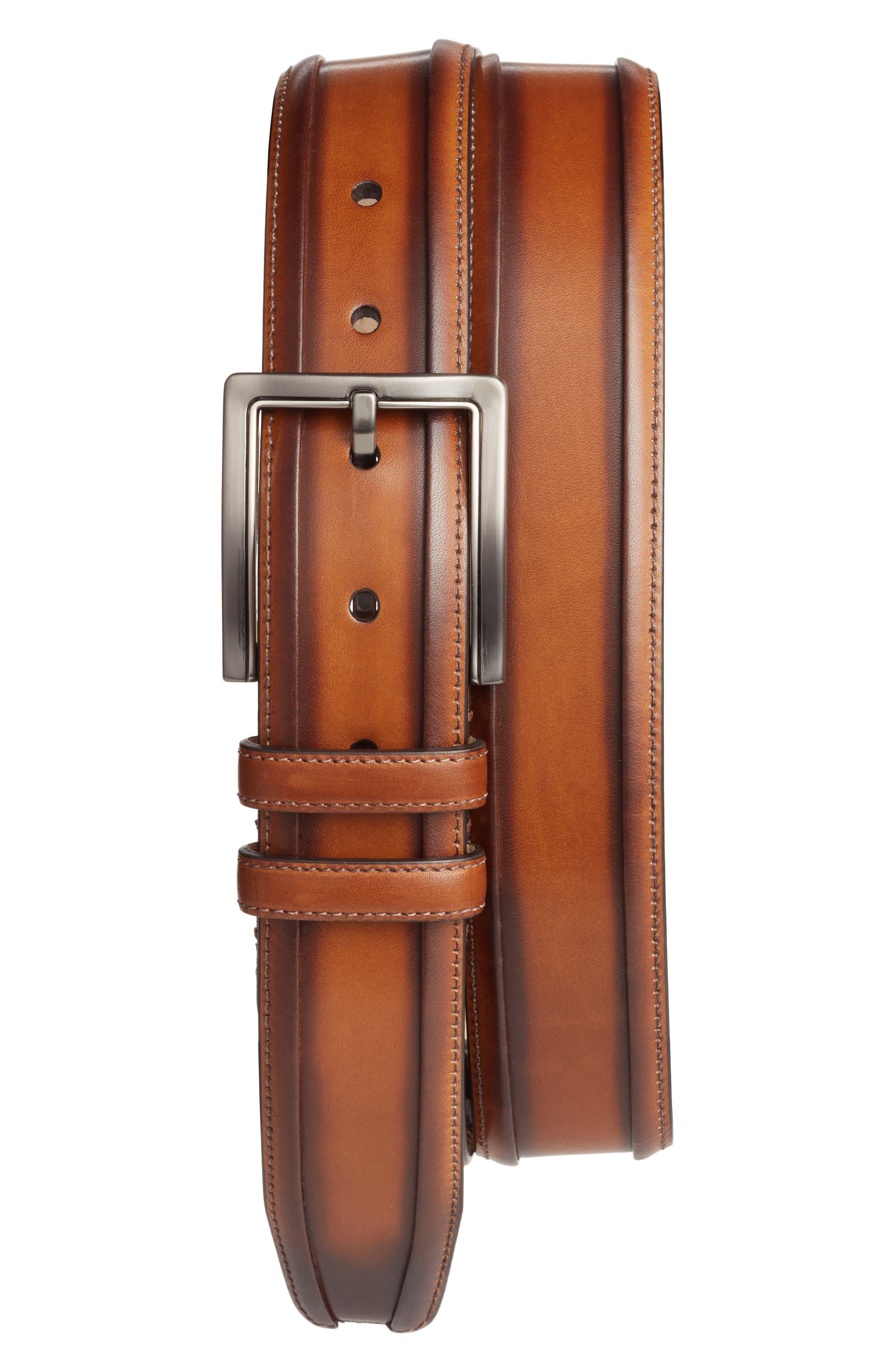 Palma Leather Belt,                         Main,                         color, Honey