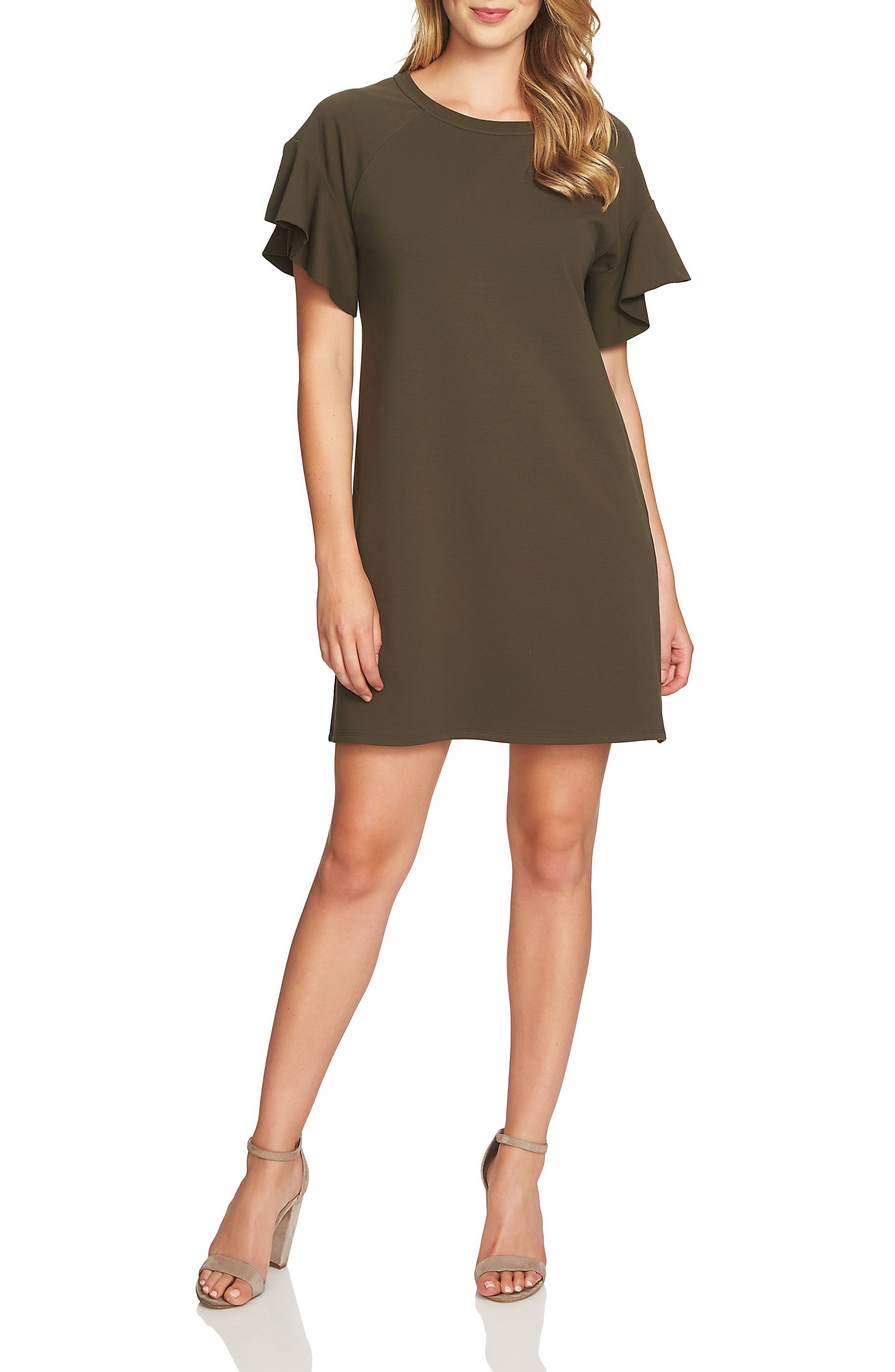 French Terry T-Shirt Dress,                         Main,                         color, Green Olive