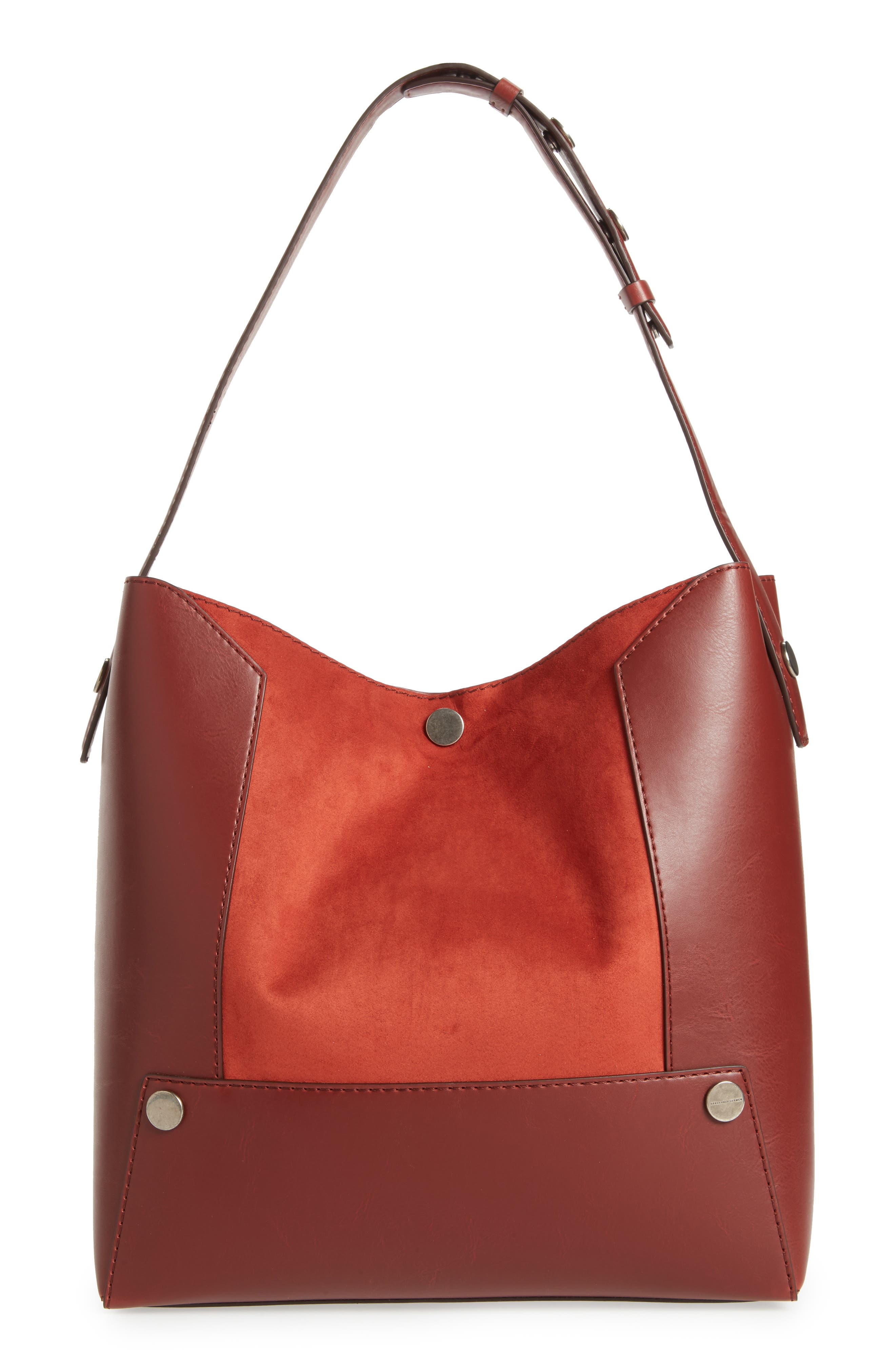 Small Faux Leather Bucket Bag,                             Main thumbnail 1, color,                             Henna