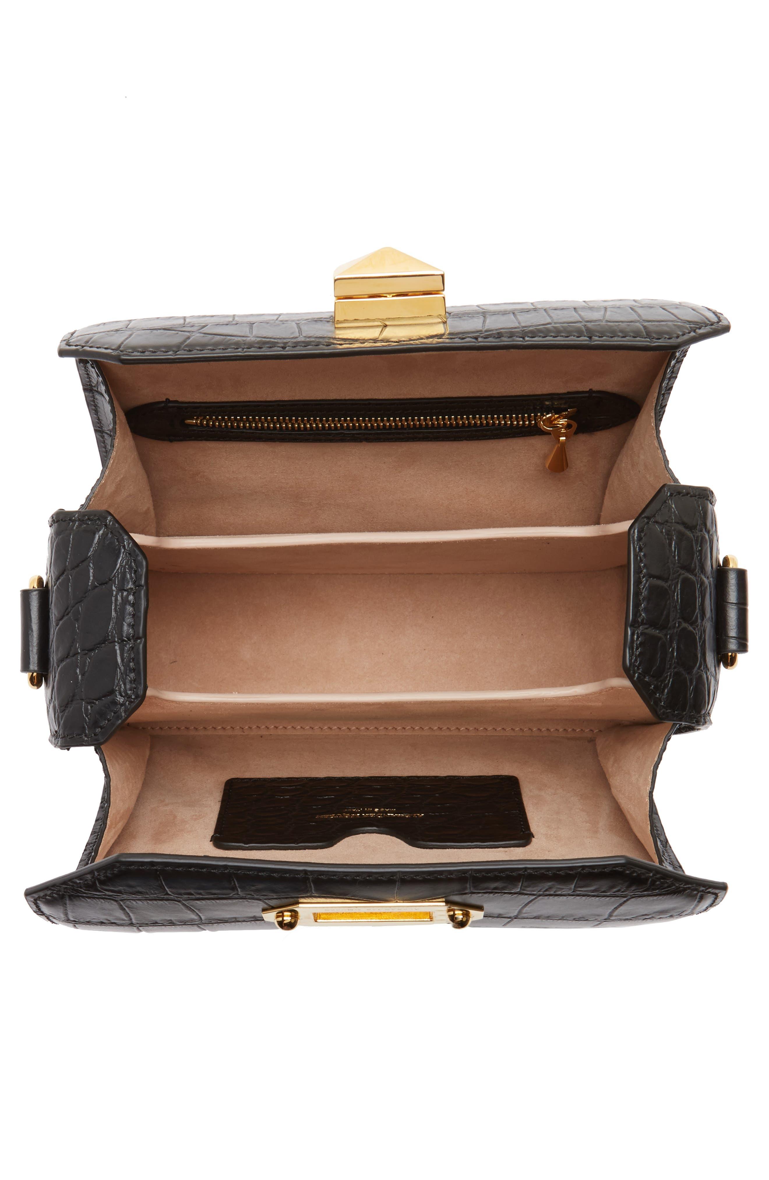 Box Bag 19 Croc Embossed Leather Bag,                             Alternate thumbnail 3, color,                             Black