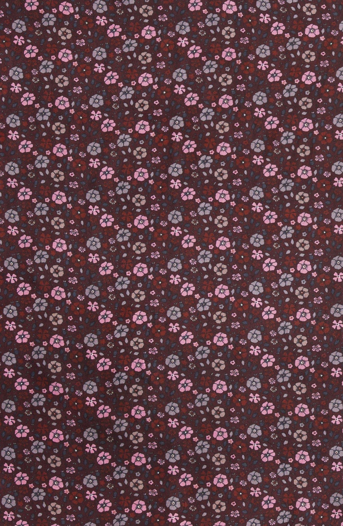 Floral Silk Bandana,                             Alternate thumbnail 4, color,                             Maroon Multi