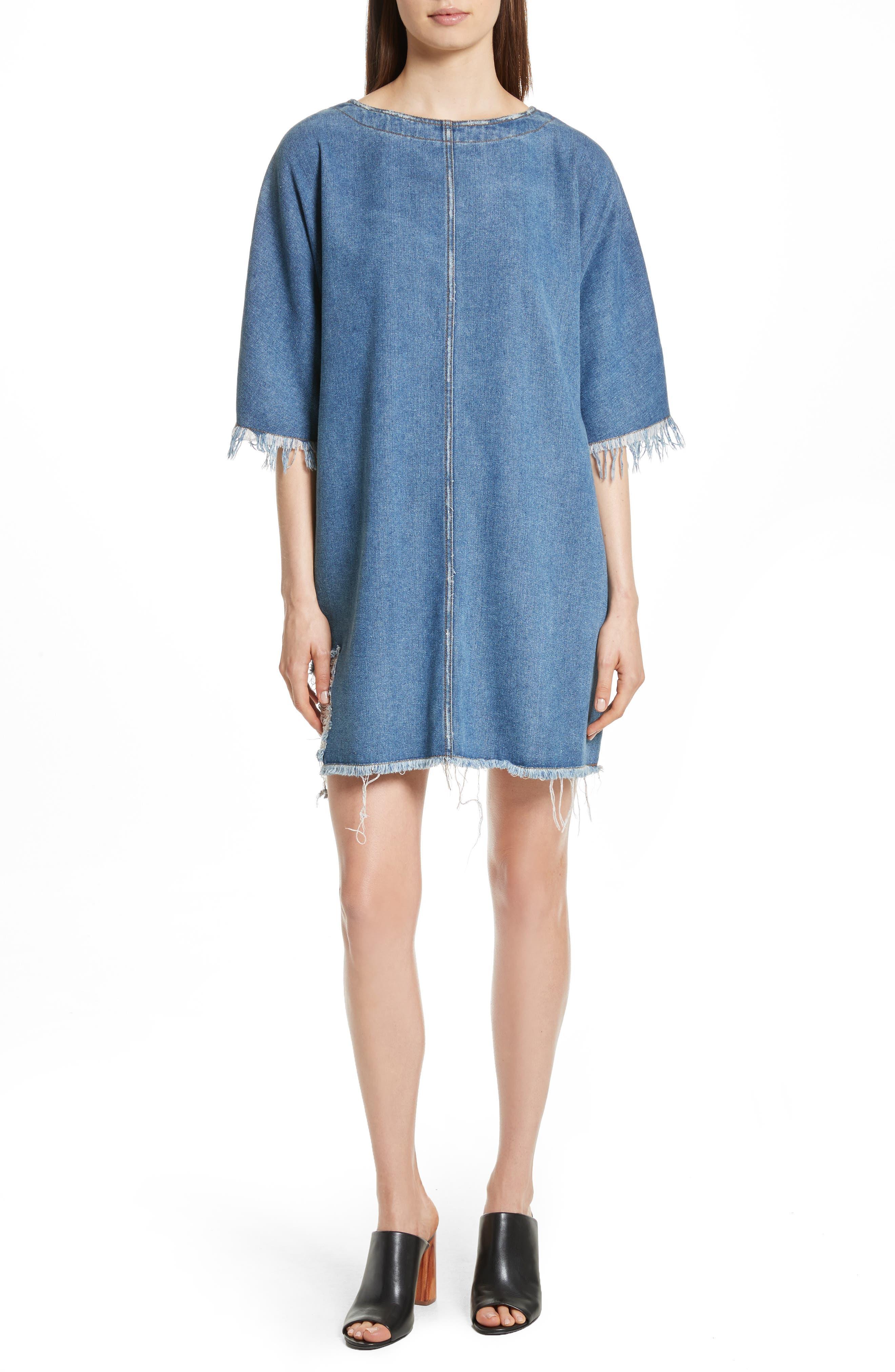 Distressed Denim Dress,                         Main,                         color, Light Denim Wash