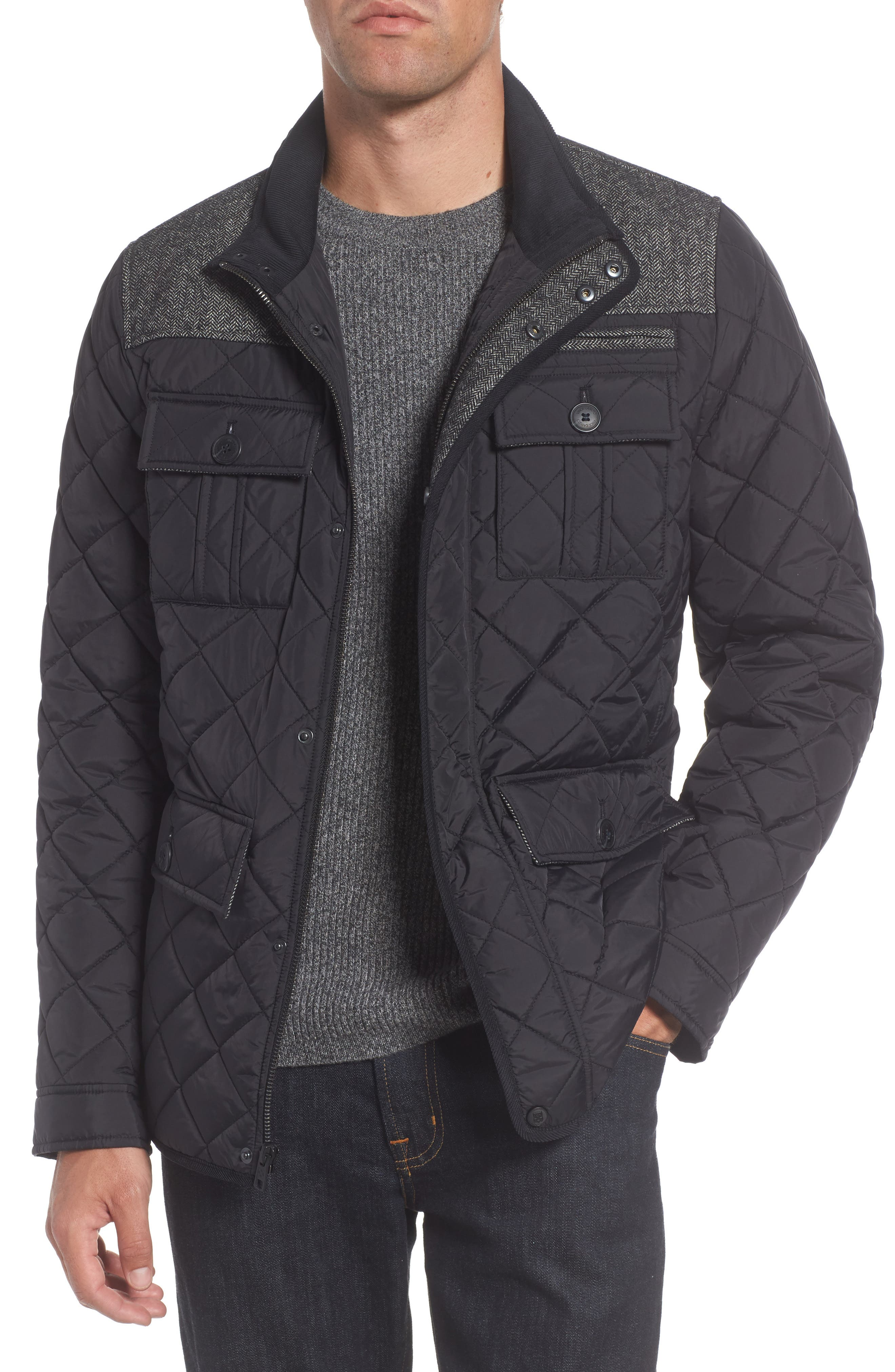 Diamond Quilted Full Zip Jacket,                             Main thumbnail 1, color,                             Black