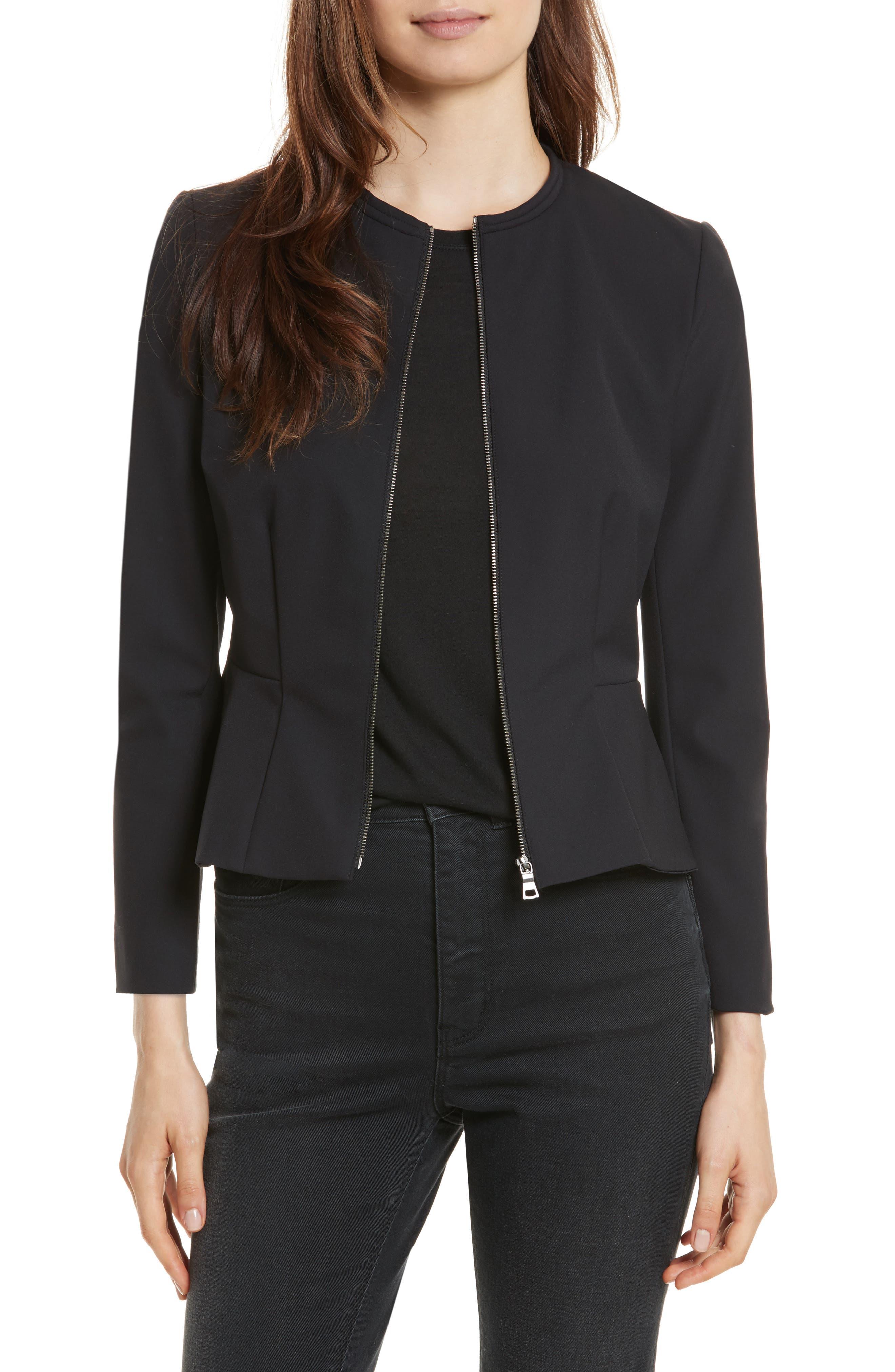 Ava Peplum Jacket,                         Main,                         color, Black