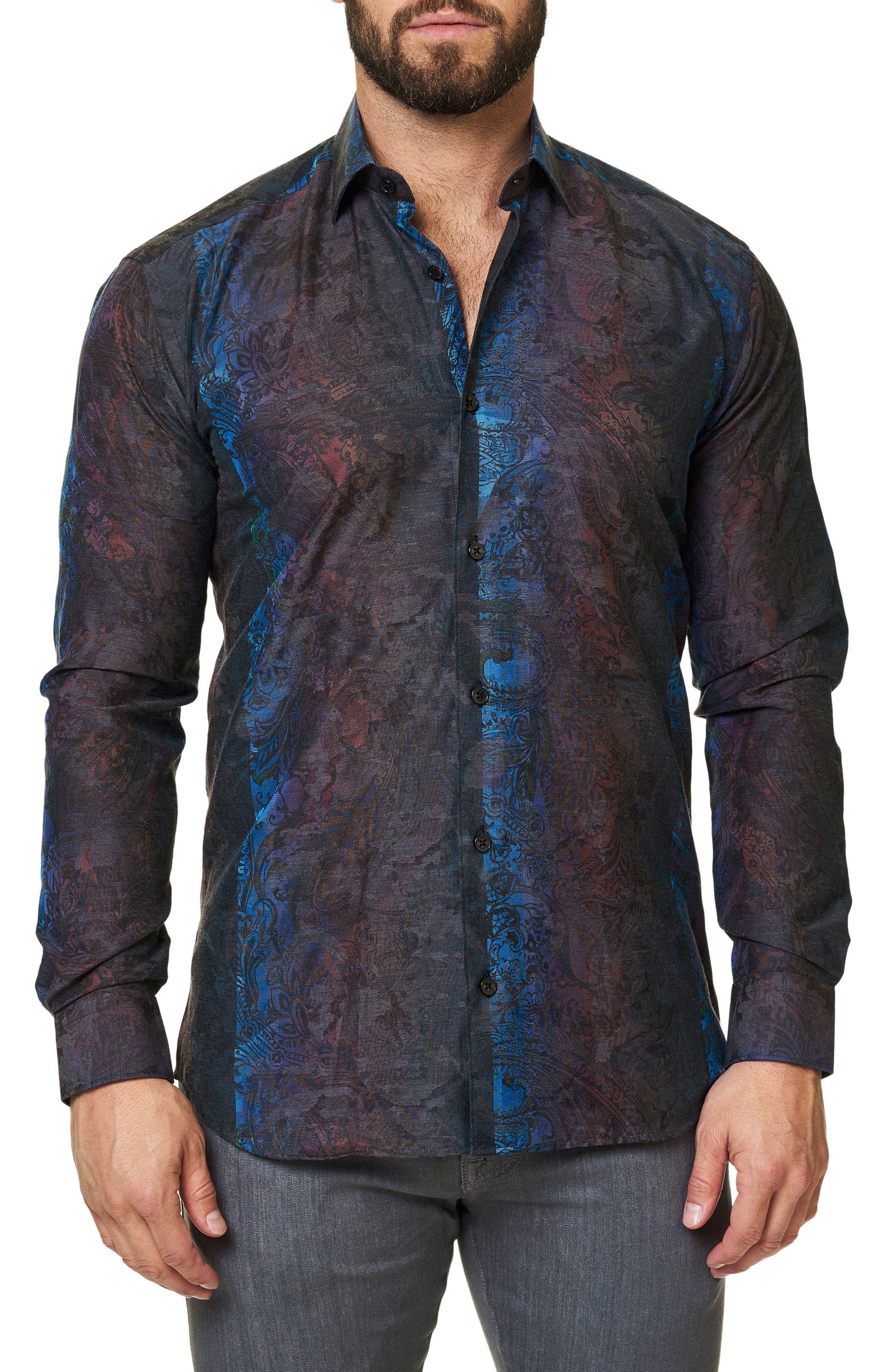 Trim Fit Print Sport Shirt,                         Main,                         color, Grey