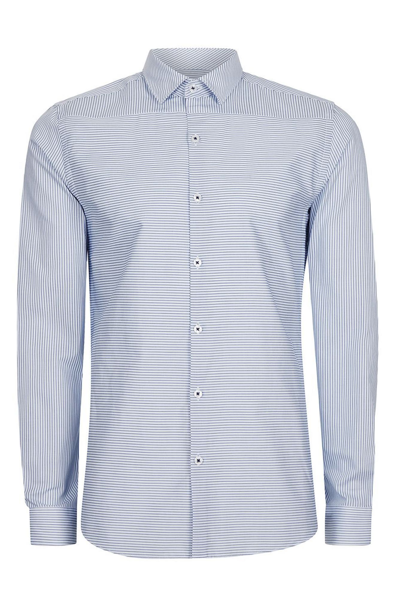 Alternate Image 6  - Topman Slim Fit Bias Stripe Dress Shirt
