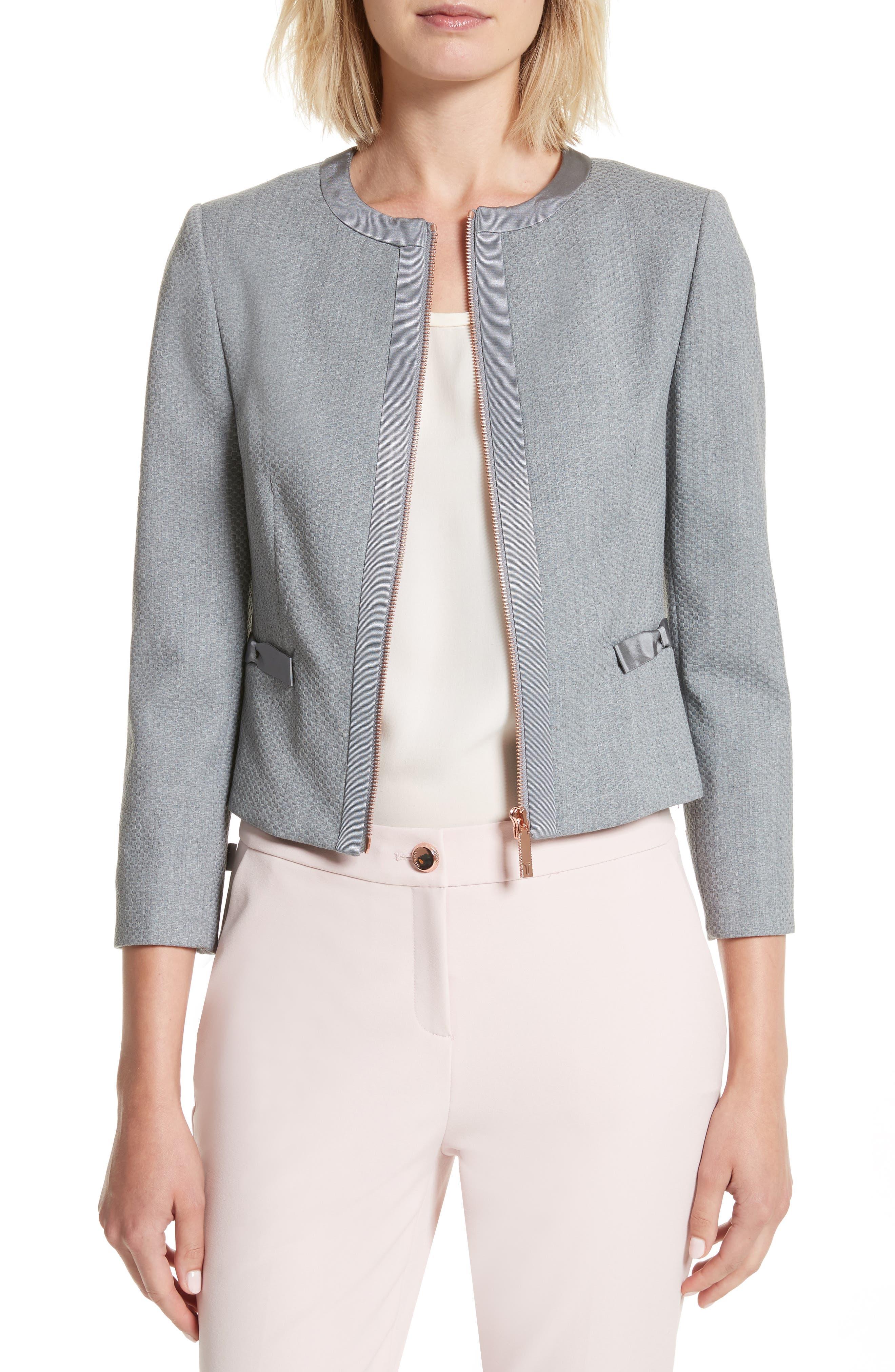 Nadae Bow Detail Crop Jacket,                             Main thumbnail 1, color,                             Mid Grey