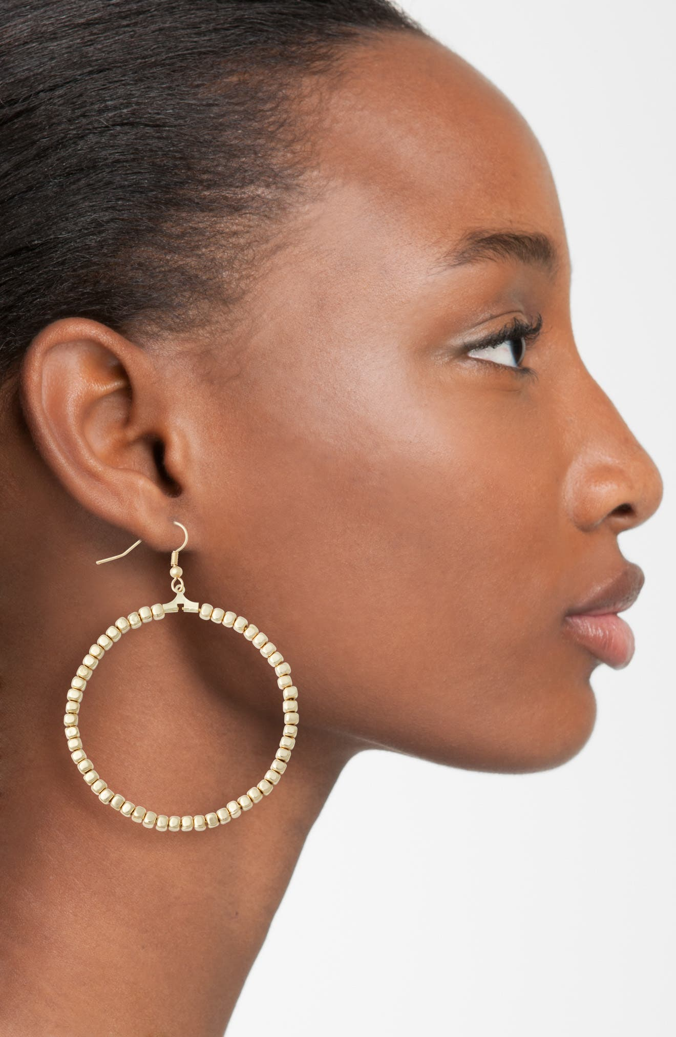 Ava Beaded Hoop Earrings,                             Alternate thumbnail 2, color,                             Gold
