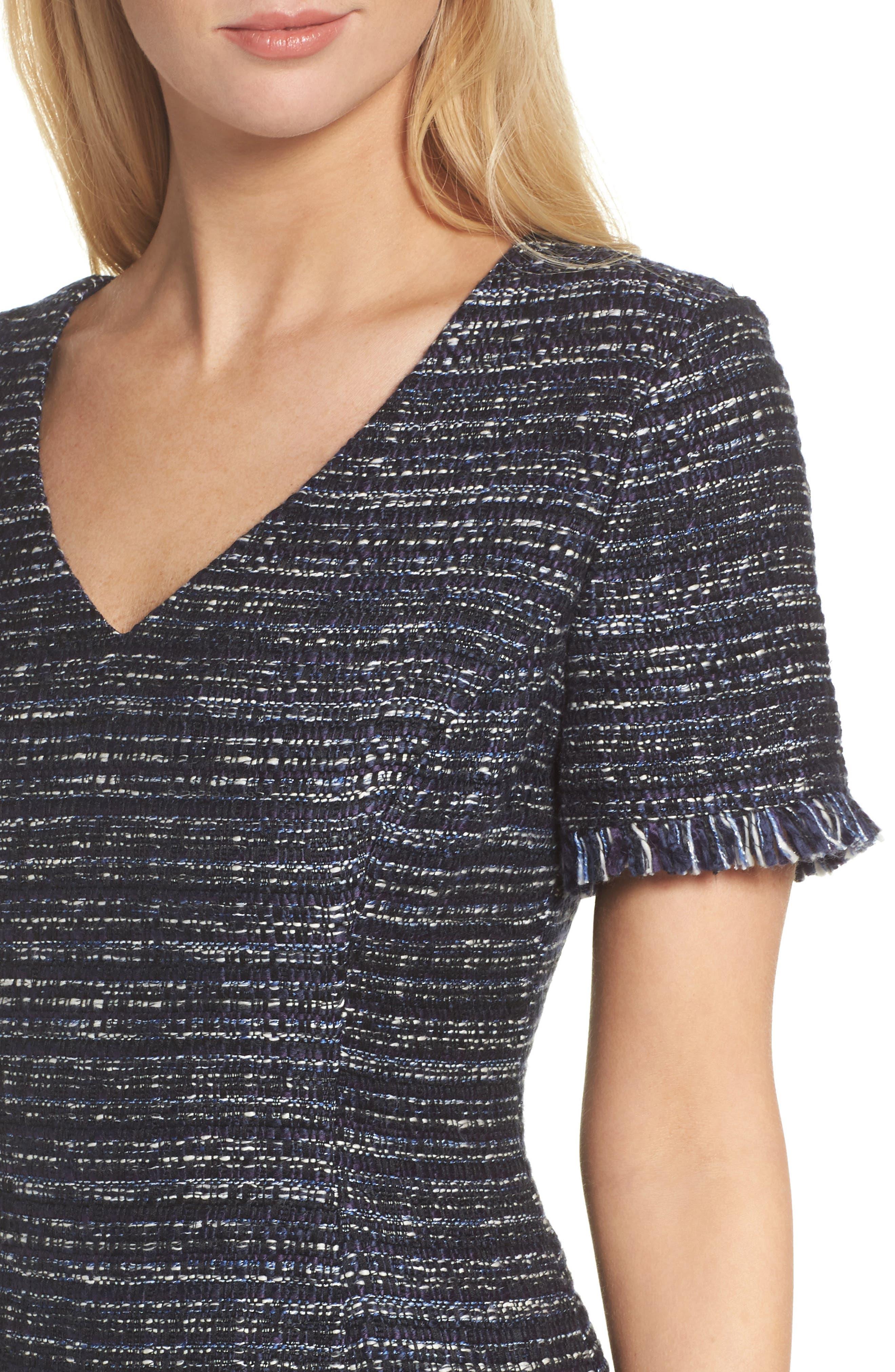 Short Sleeve Fit & Flare Dress,                             Alternate thumbnail 4, color,                             Navy