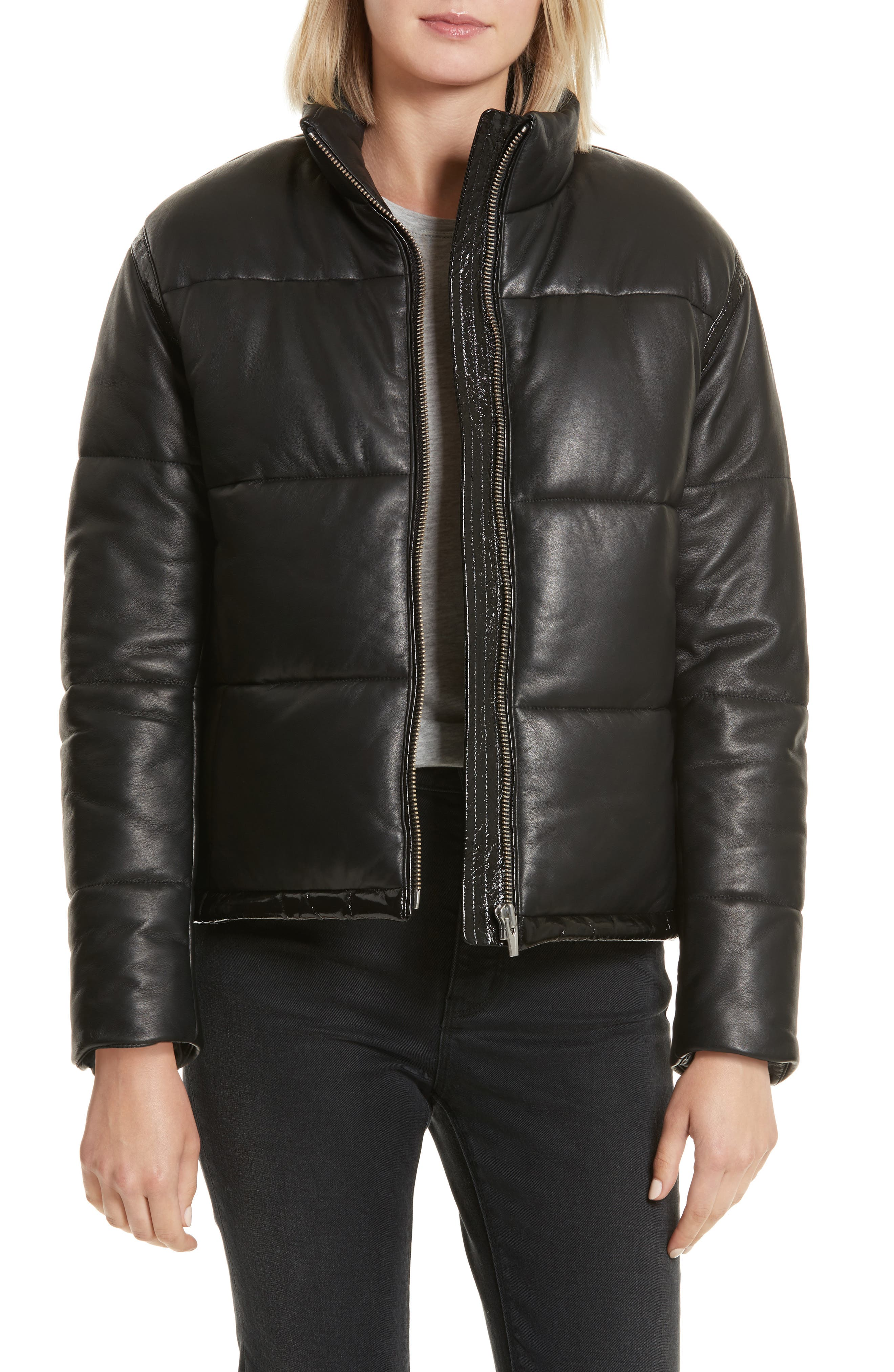 Power Puff Leather Jacket,                         Main,                         color, Black