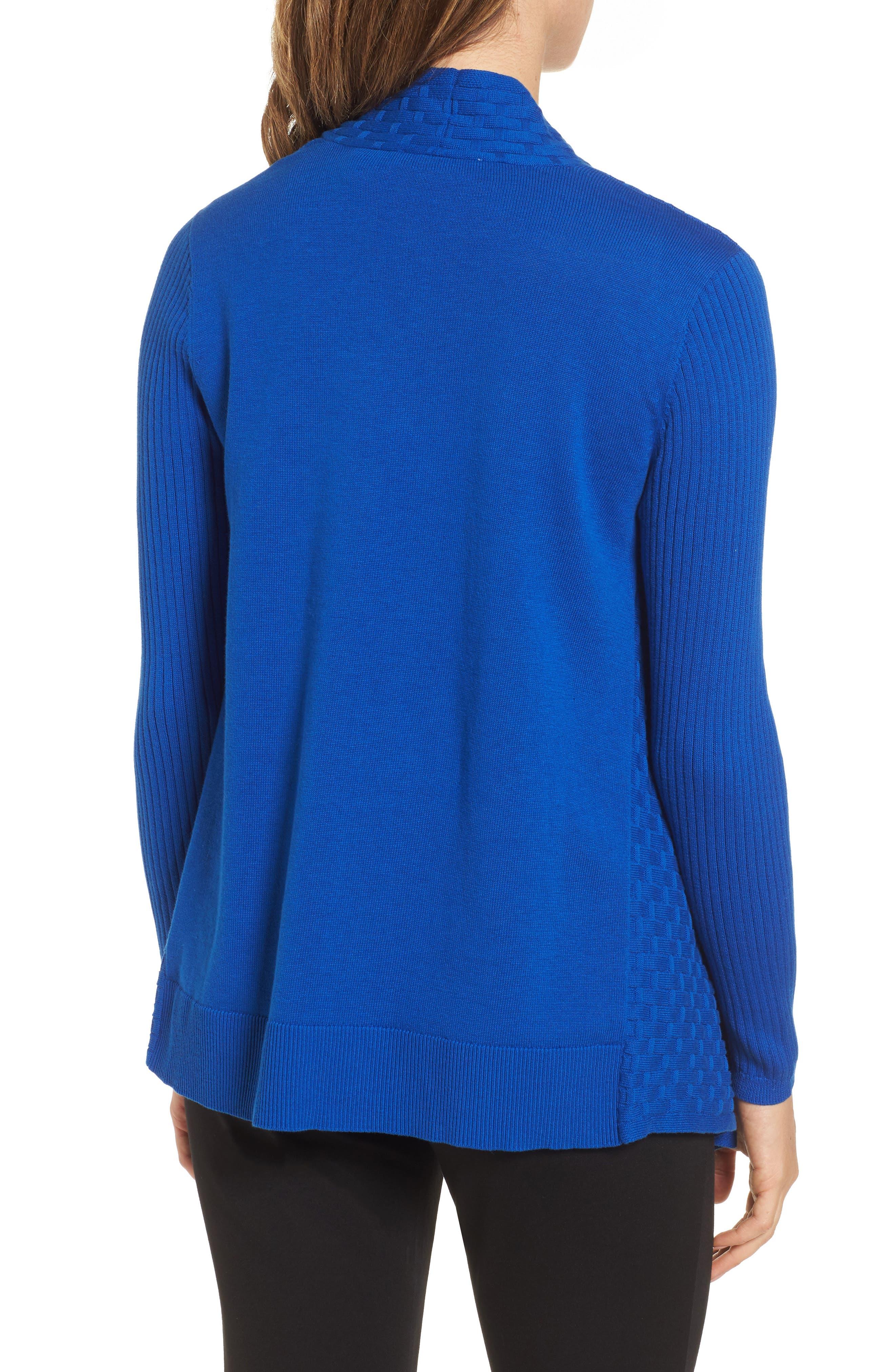 Mixed Cotton Knit Cardigan,                             Alternate thumbnail 2, color,                             Royal Cobalt