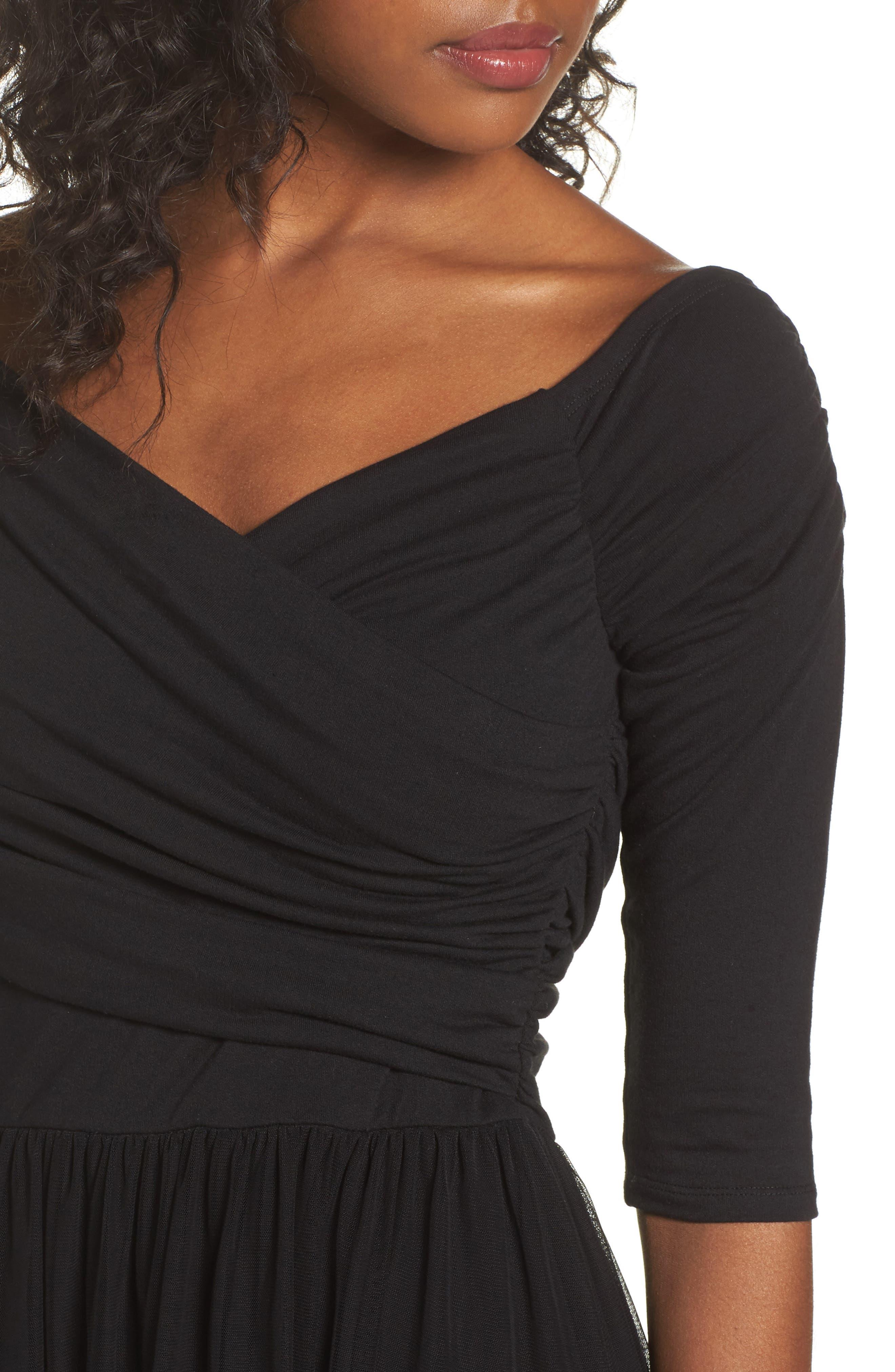 Tulle Fit & Flare Dress,                             Alternate thumbnail 4, color,                             Black