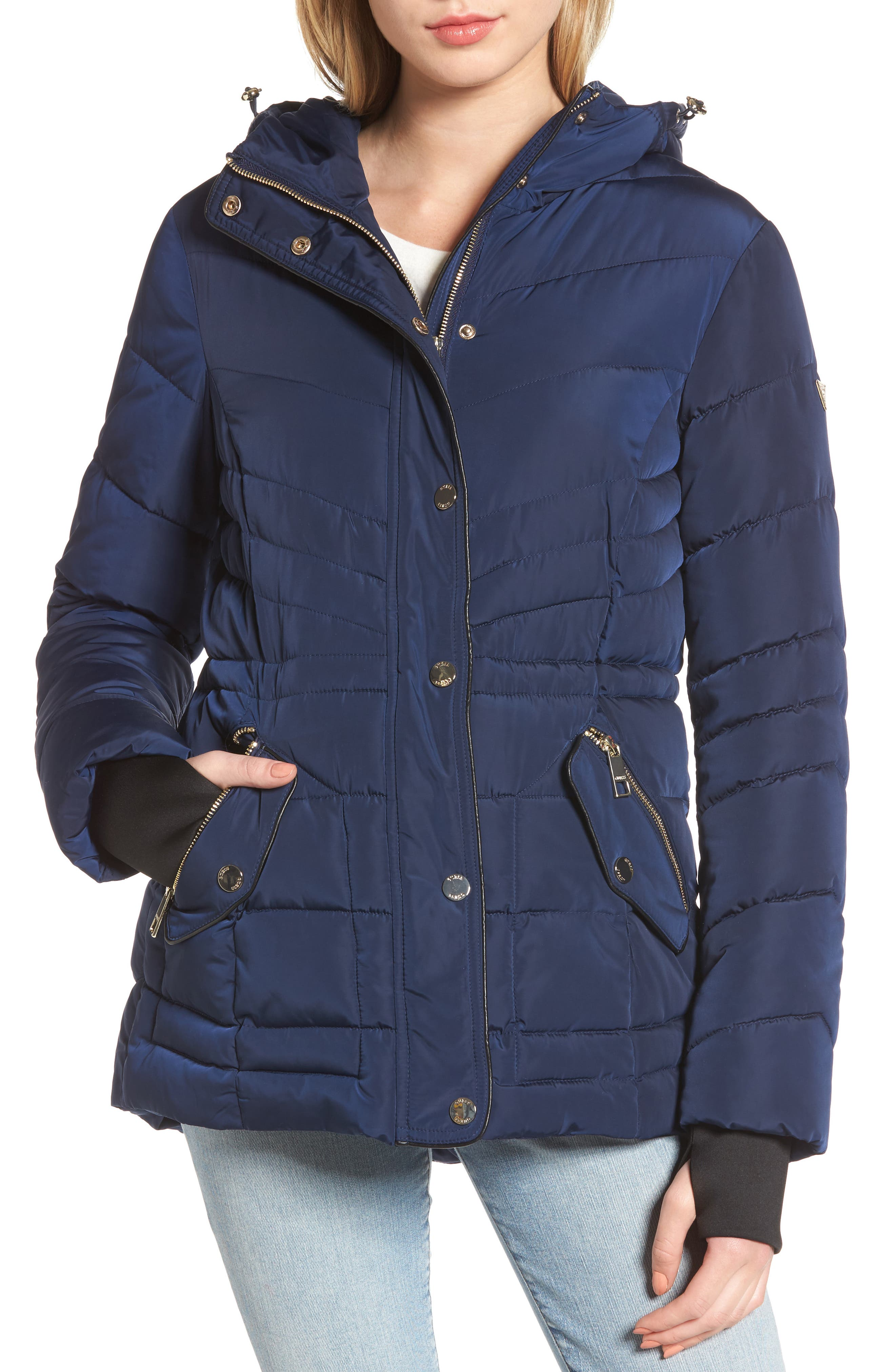 Alternate Image 4  - GUESS Faux Fur Trim Quilted Anorak