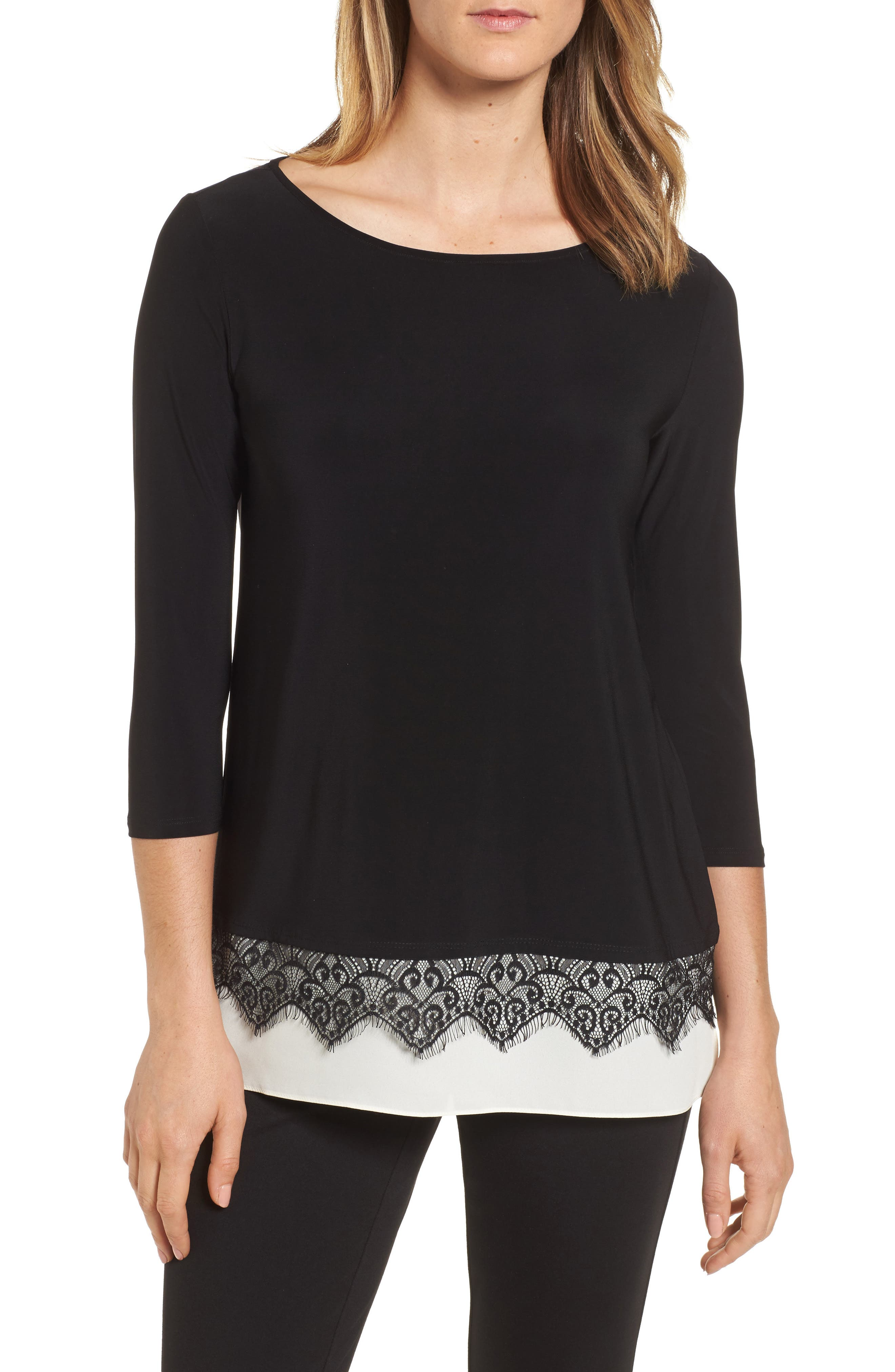 Alternate Image 1 Selected - Chaus Lace Trim Knit Top