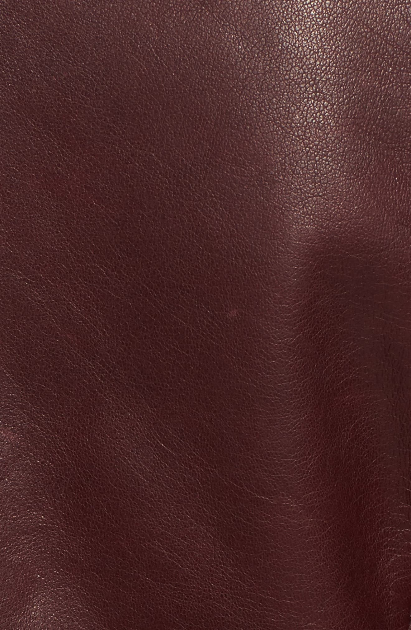 Cambridge Genuine Rabbit Fur & Leather Jacket,                             Alternate thumbnail 5, color,                             Burgundy