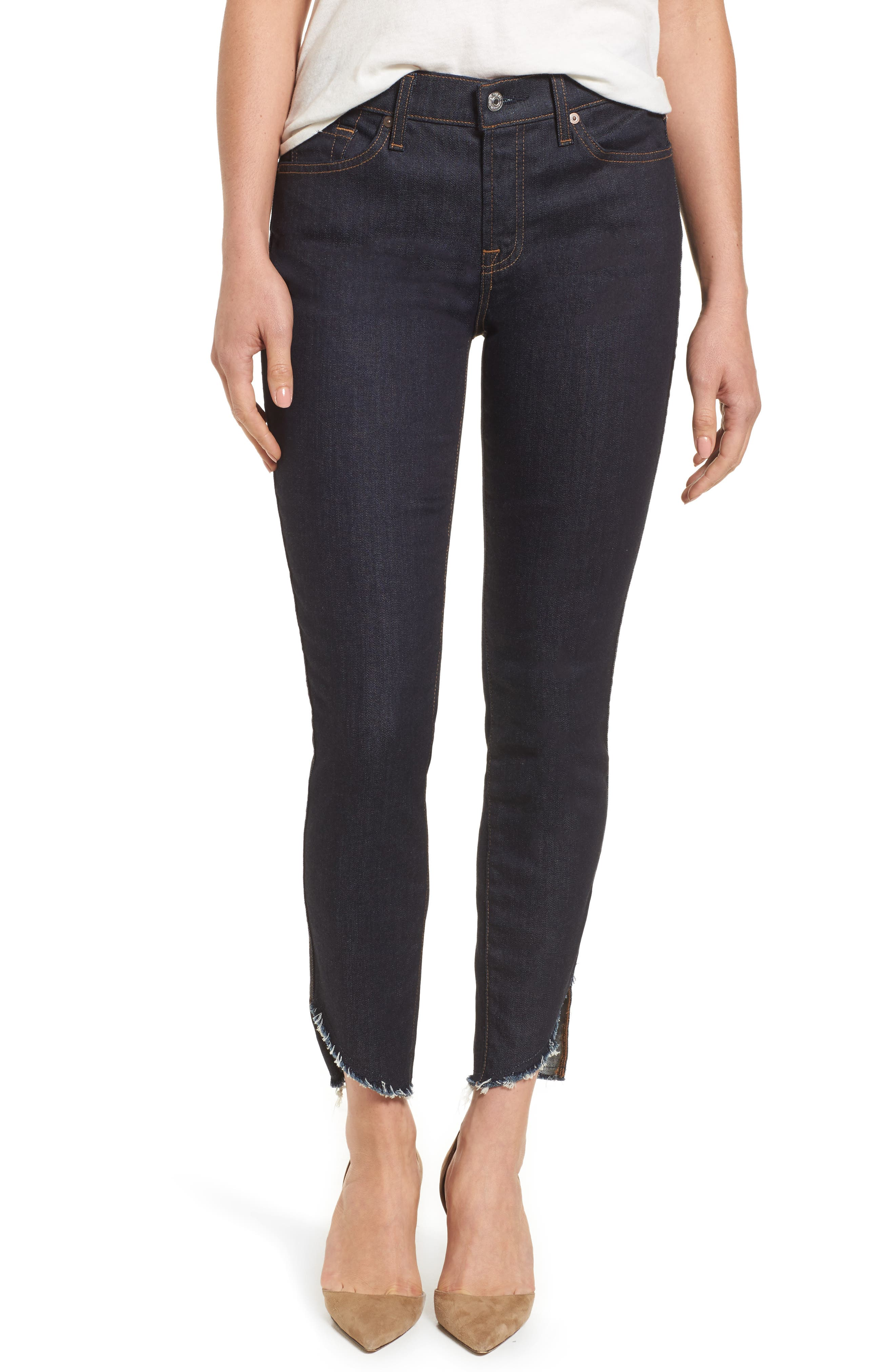 Main Image - 7 For All Mankind® Step Hem Ankle Skinny Jeans (New York Rinse)