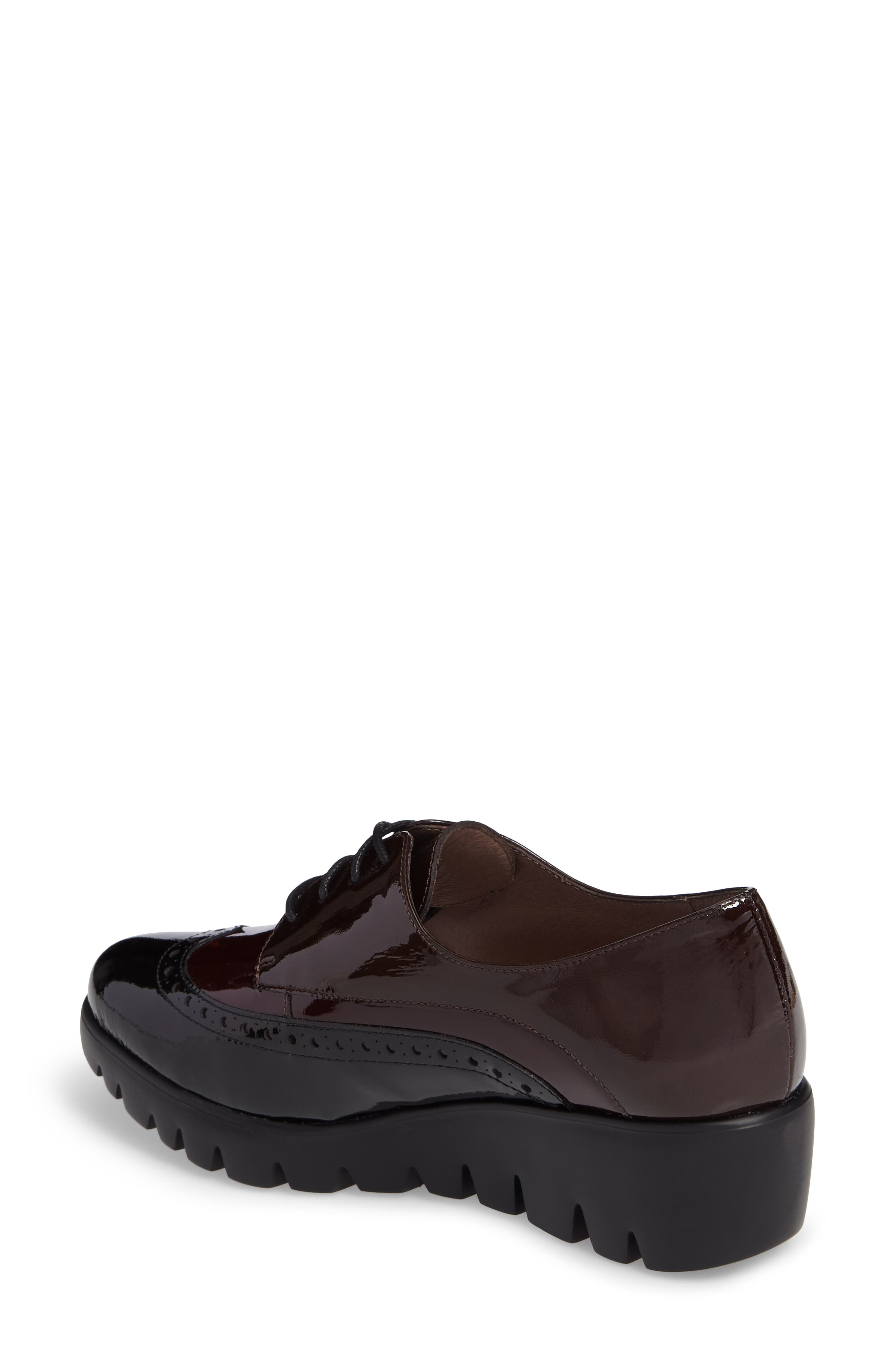 Wedge Wingtip Derby,                             Alternate thumbnail 2, color,                             Black/ Bordo Patent Leather