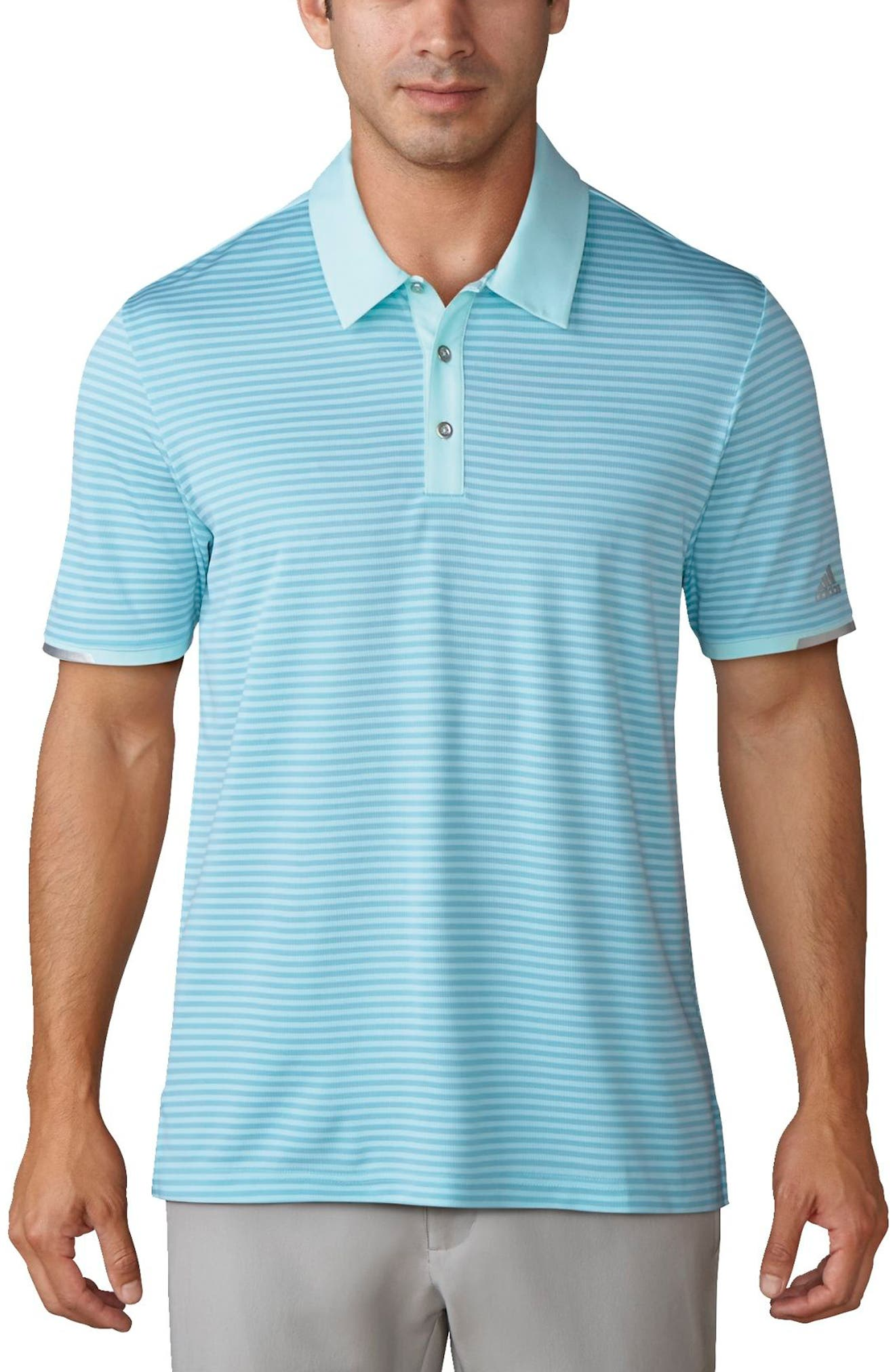 climachill<sup>®</sup> Stripe Golf Polo,                         Main,                         color, Icy Blue