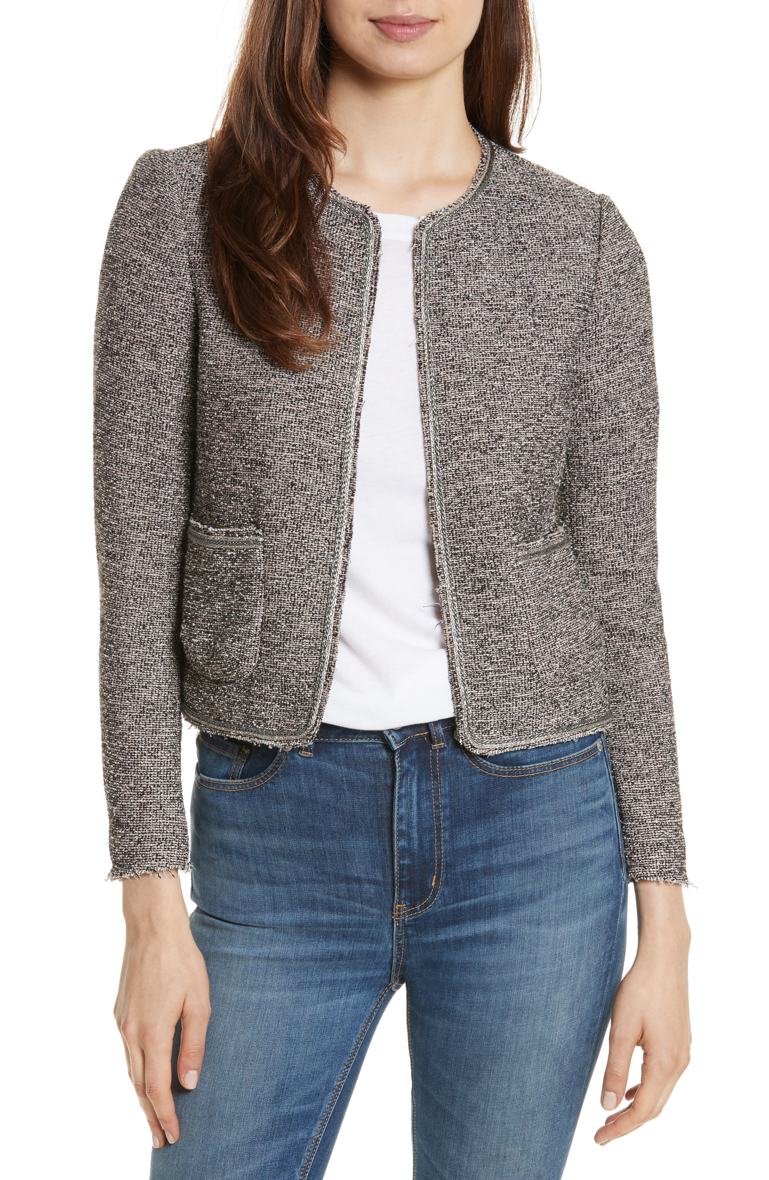 Embellished Stretch Tweed Jacket,                         Main,                         color, Nude Combo