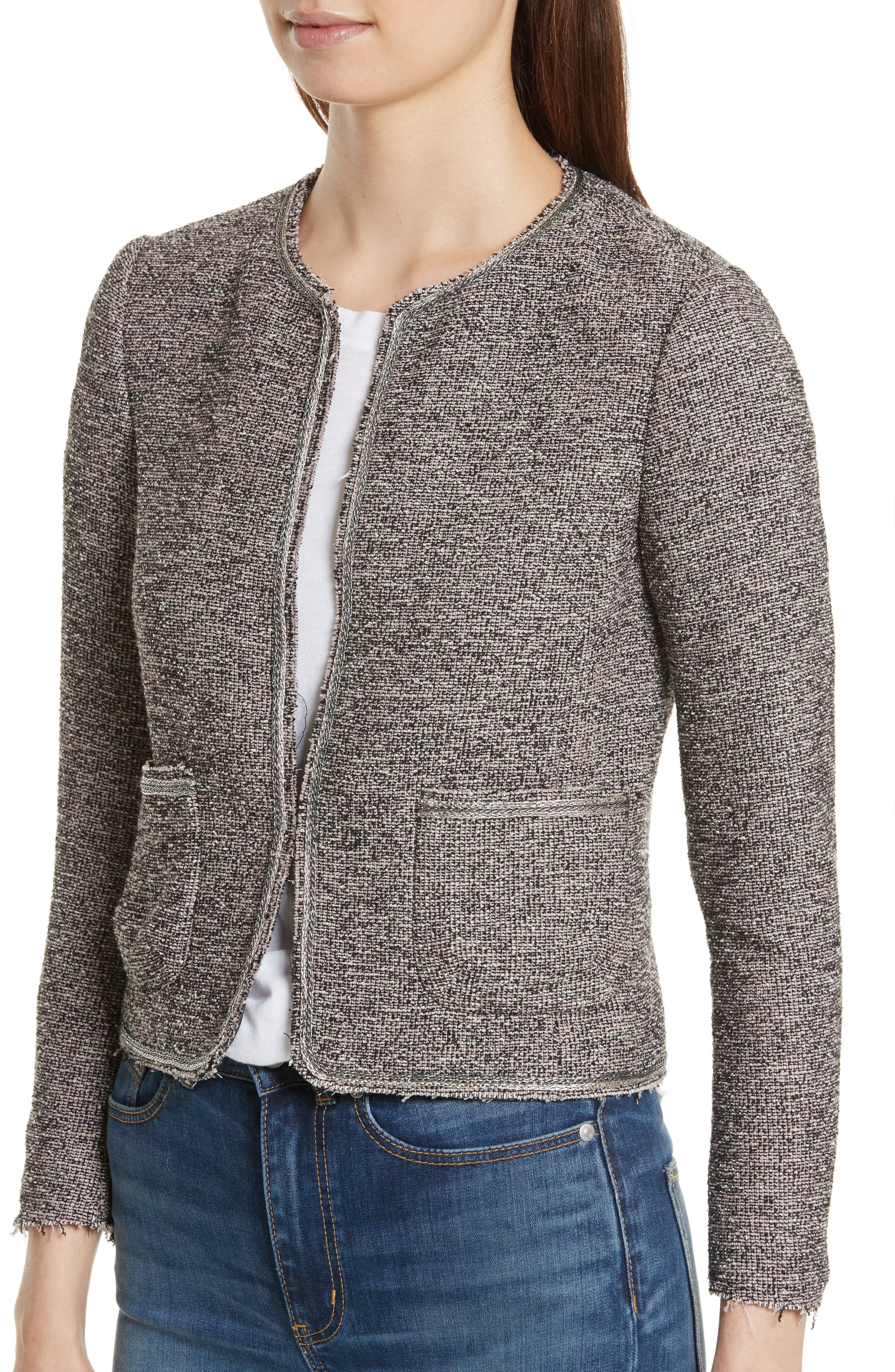 Embellished Stretch Tweed Jacket,                             Alternate thumbnail 4, color,                             Nude Combo