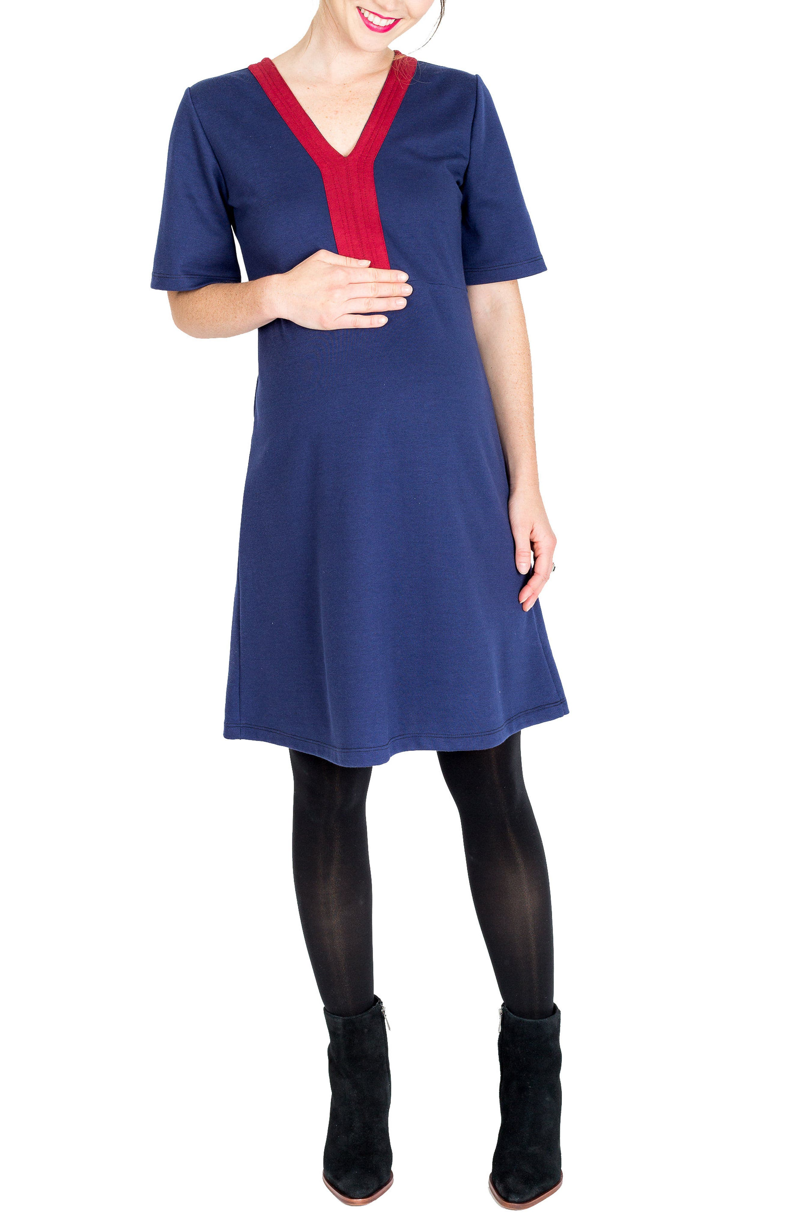 Birdie A-Line Maternity Dress,                         Main,                         color, Navy W/ Merlot