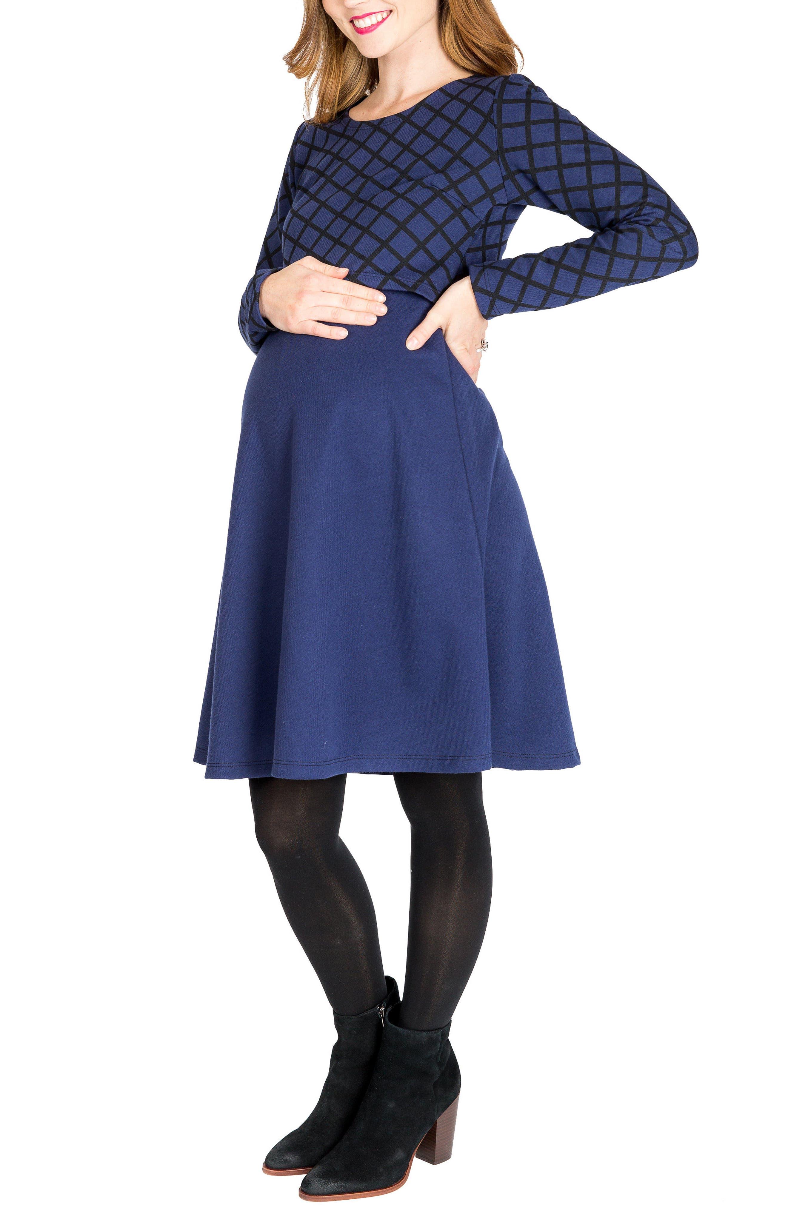 Emma Print Overlay Maternity/Nursing Dress,                         Main,                         color, Navy Windowpane