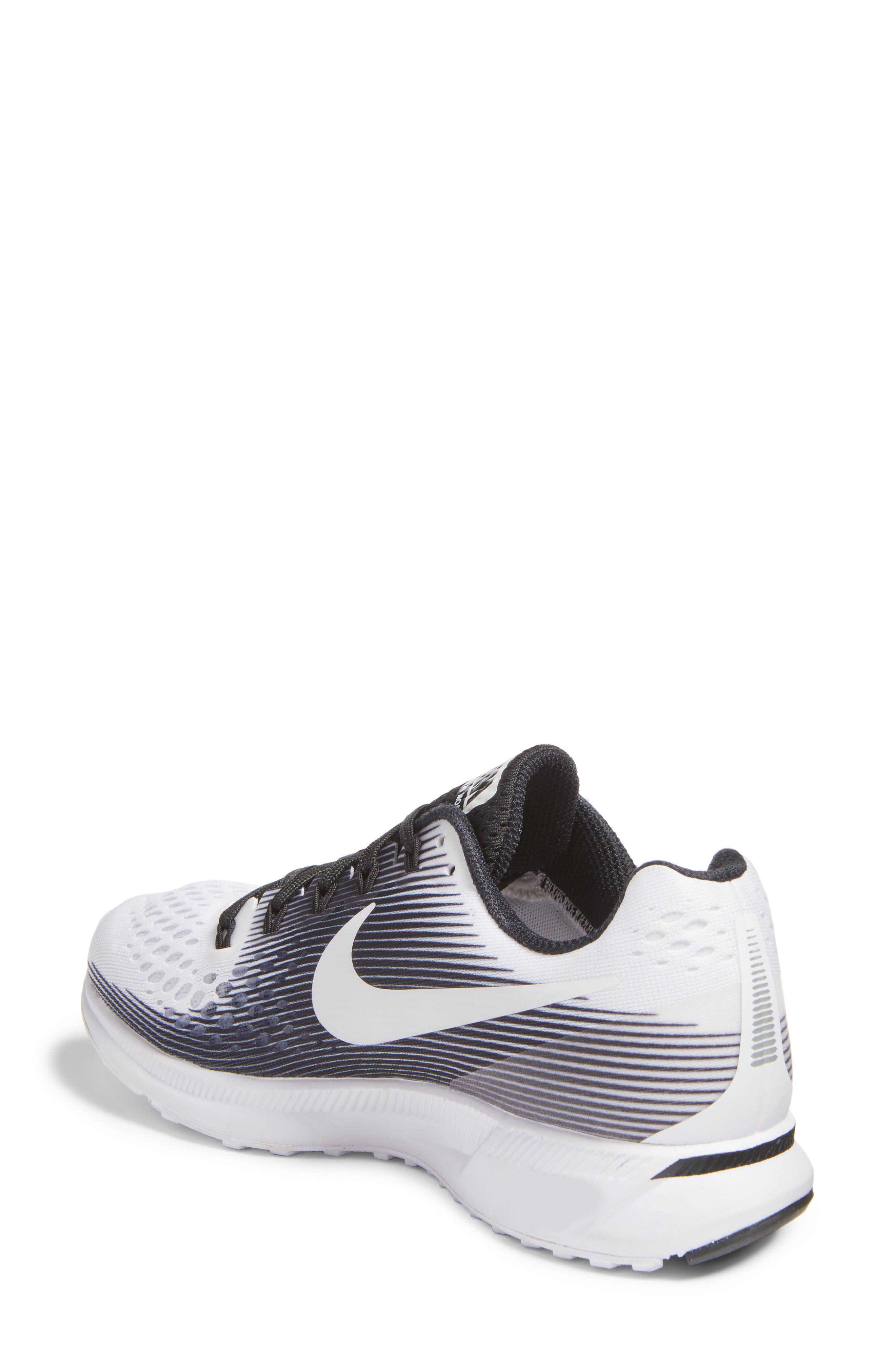 Air Zoom Pegasus 34 LE Running Shoe,                             Alternate thumbnail 3, color,                             White/ White/ Black