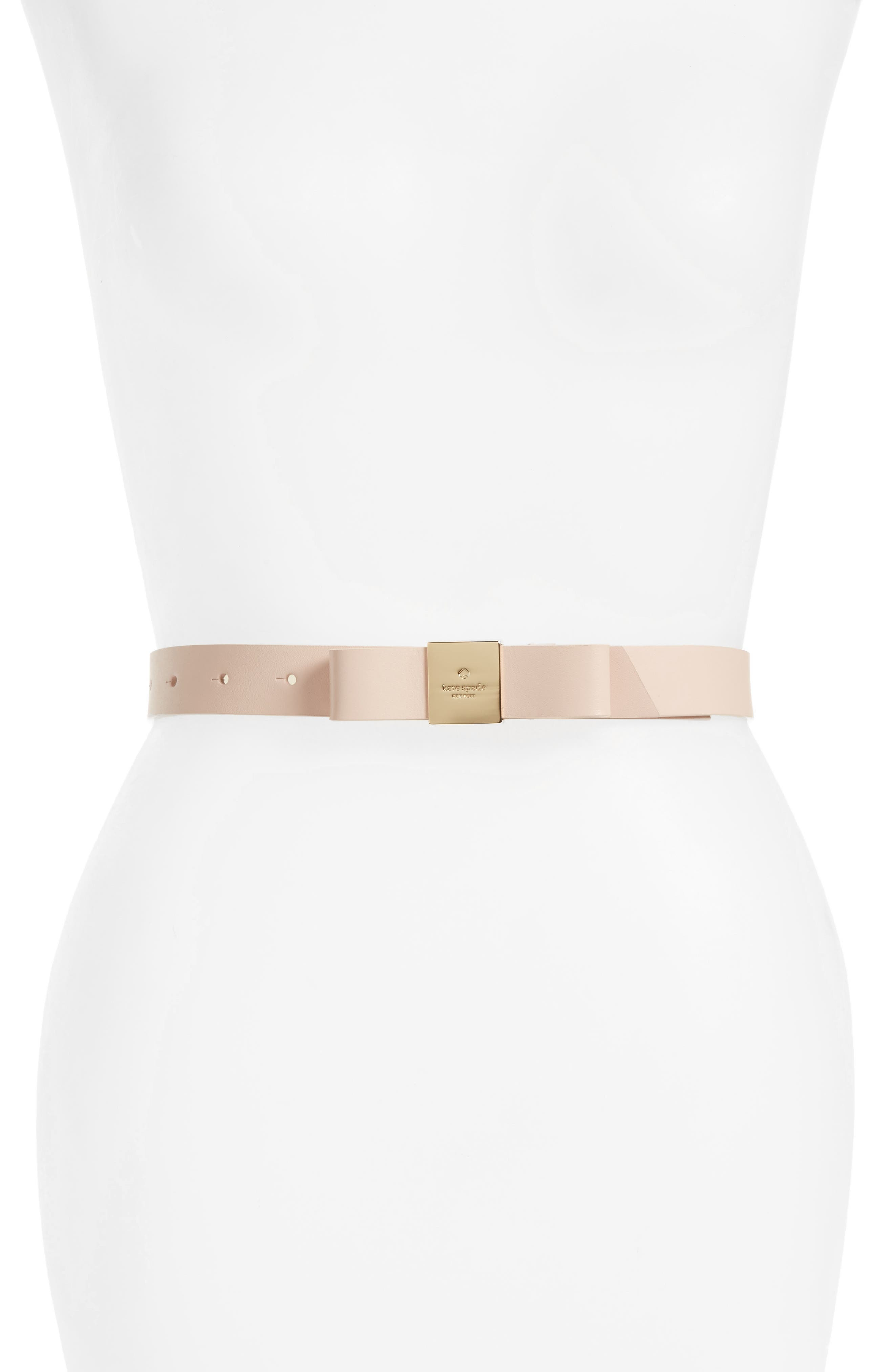 bow calfskin leather belt,                             Main thumbnail 1, color,                             Dolce/ Place Pol Gold