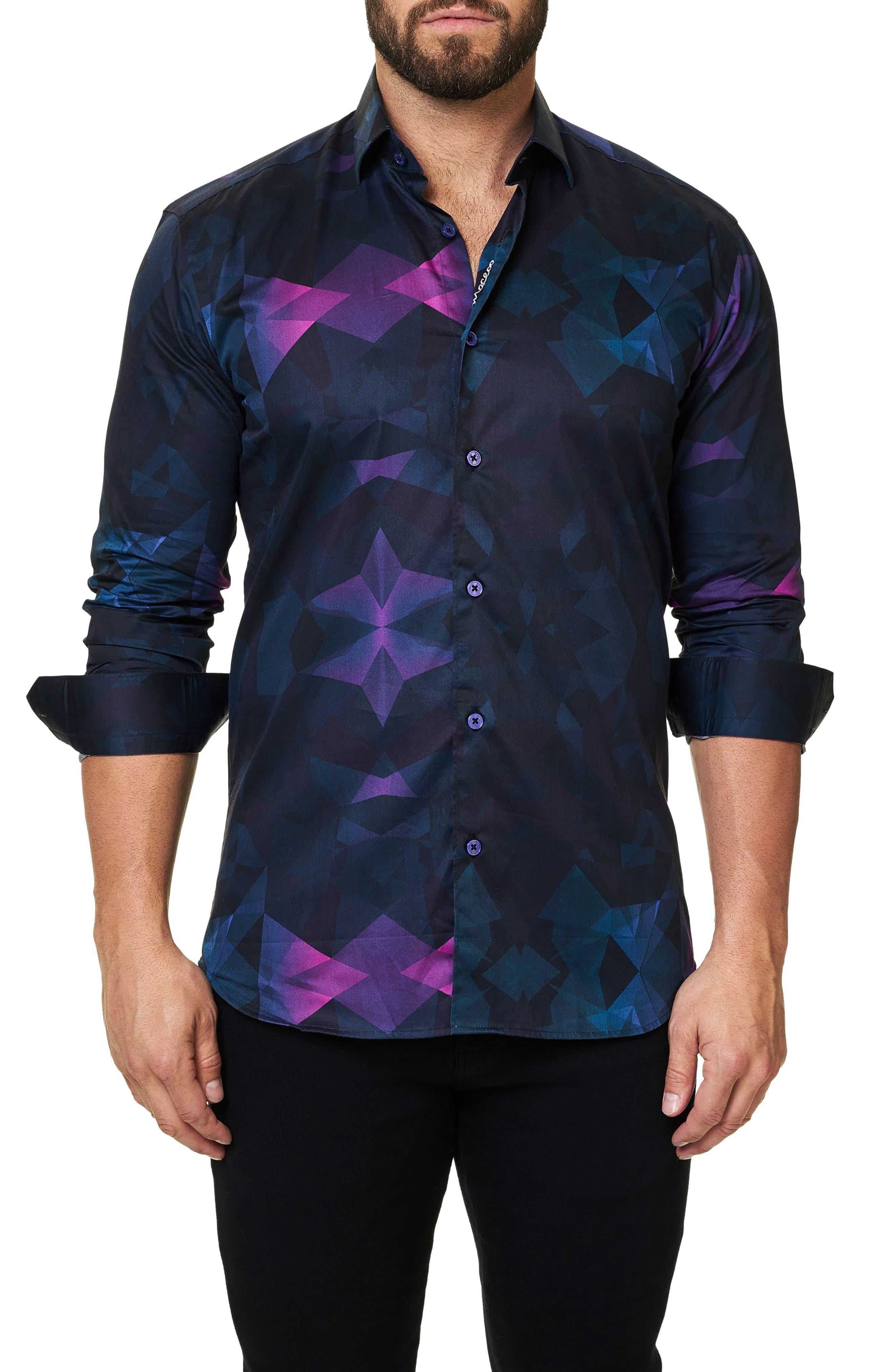 Main Image - Maceoo Luxor Webspread Dimensional Trim Fit Sport Shirt